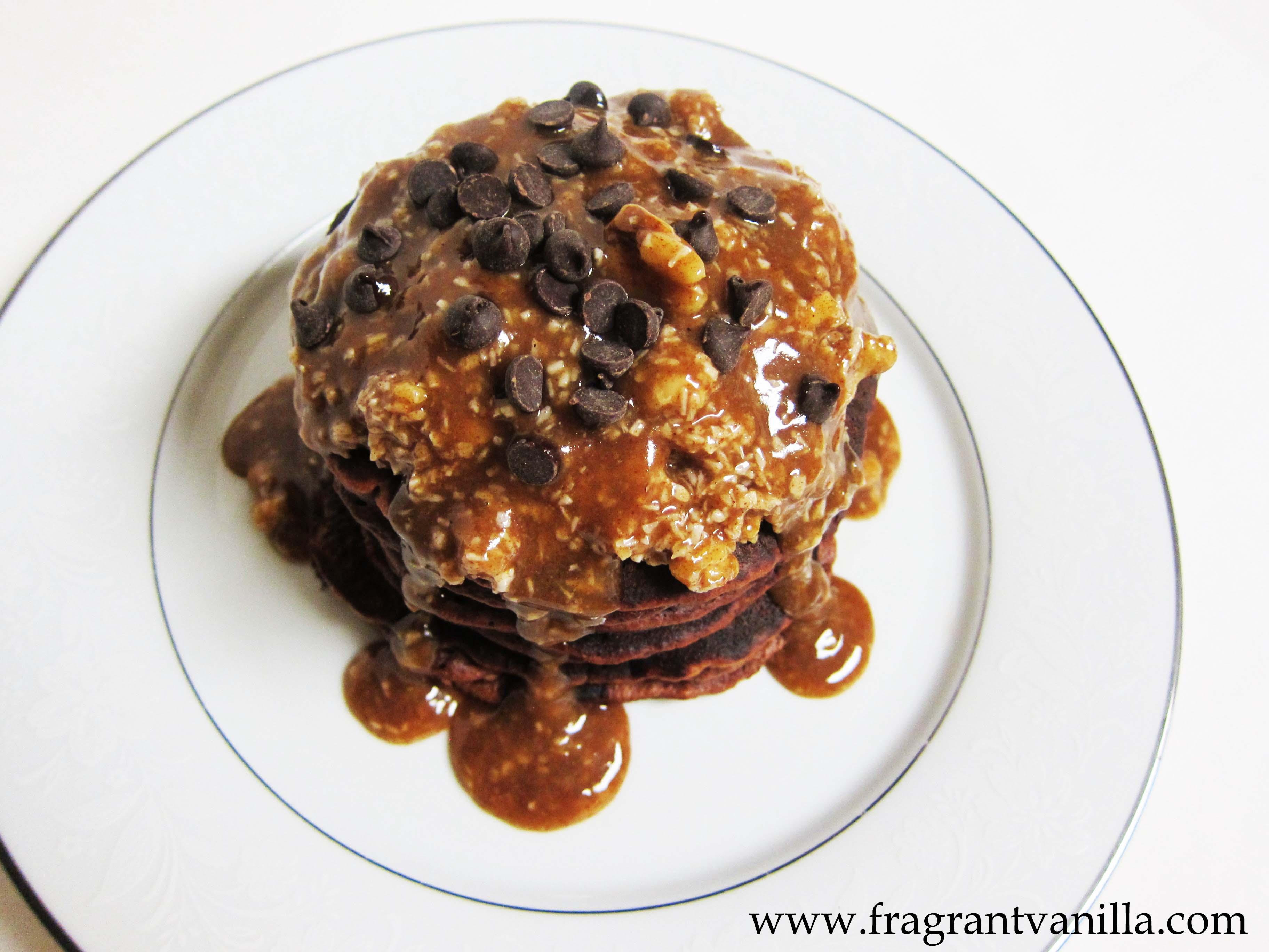 Vegan German Chocolate Pancakes