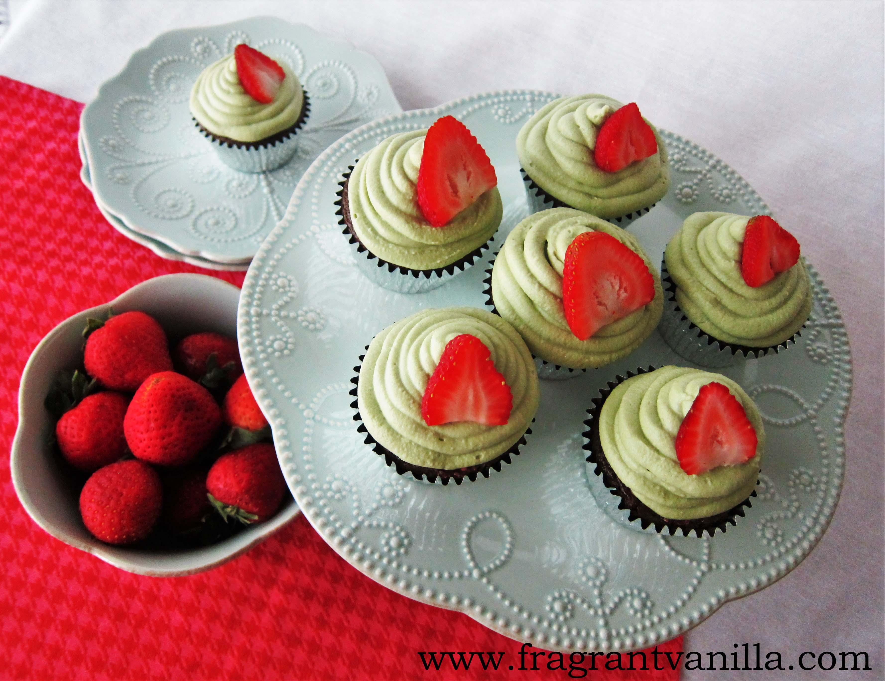 Vegan Green Tea Strawberry Rhubarb Cupcakes