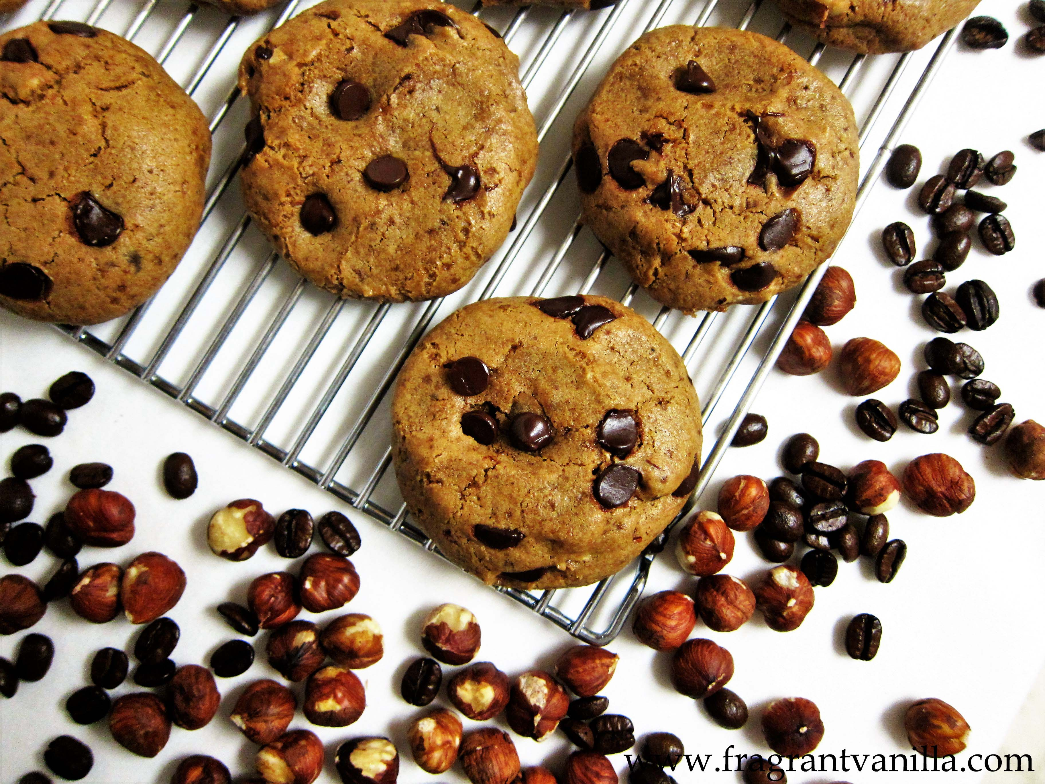Vegan Hazelnut Coffee Chocolate Chip Cookies