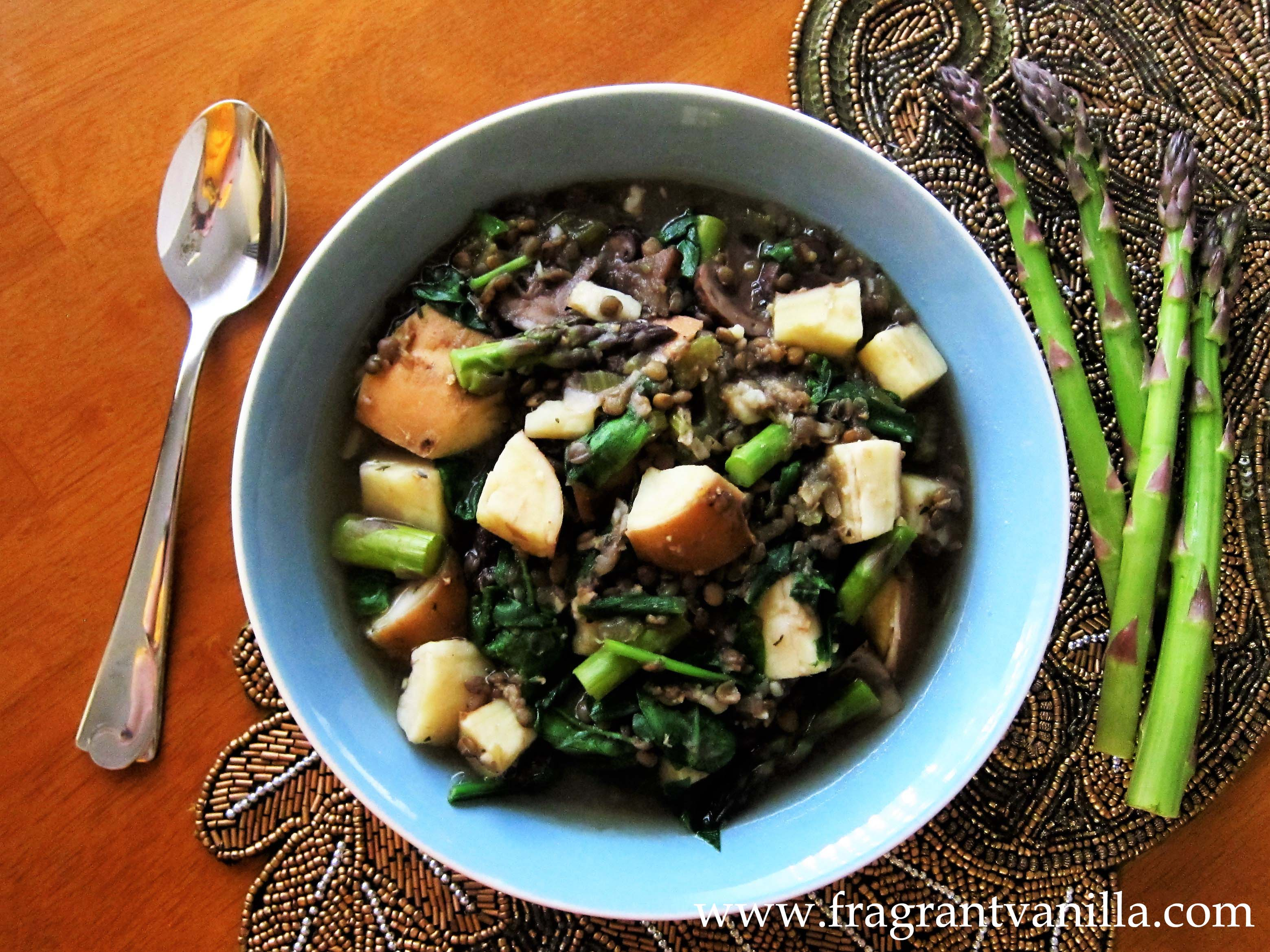 Spring Asparagus and Ramp Lentil Soup