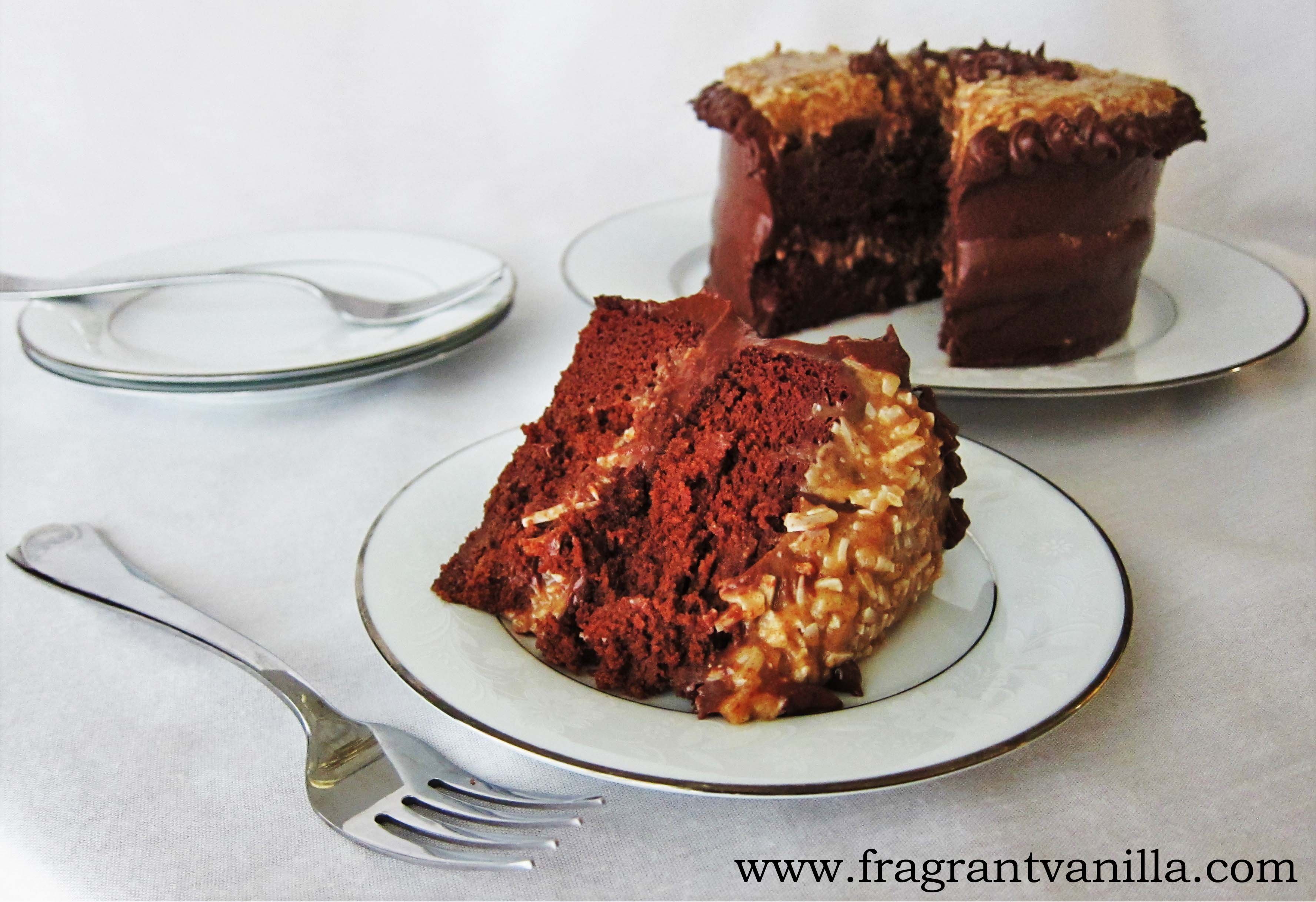 Vegan German Chocolate Potato Cake