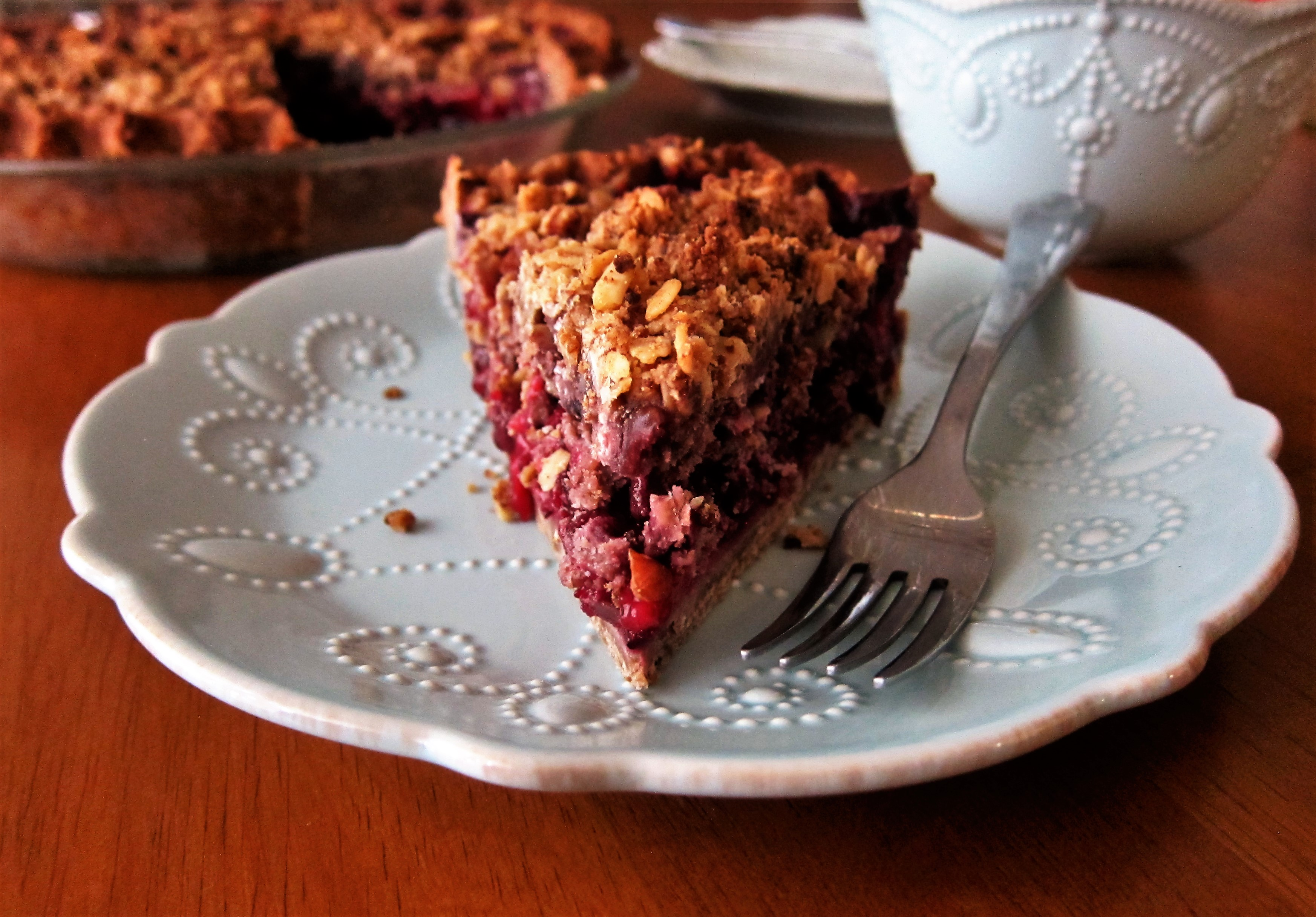 Vegan Mixed Berry Pie with Pecan Crumble Topping