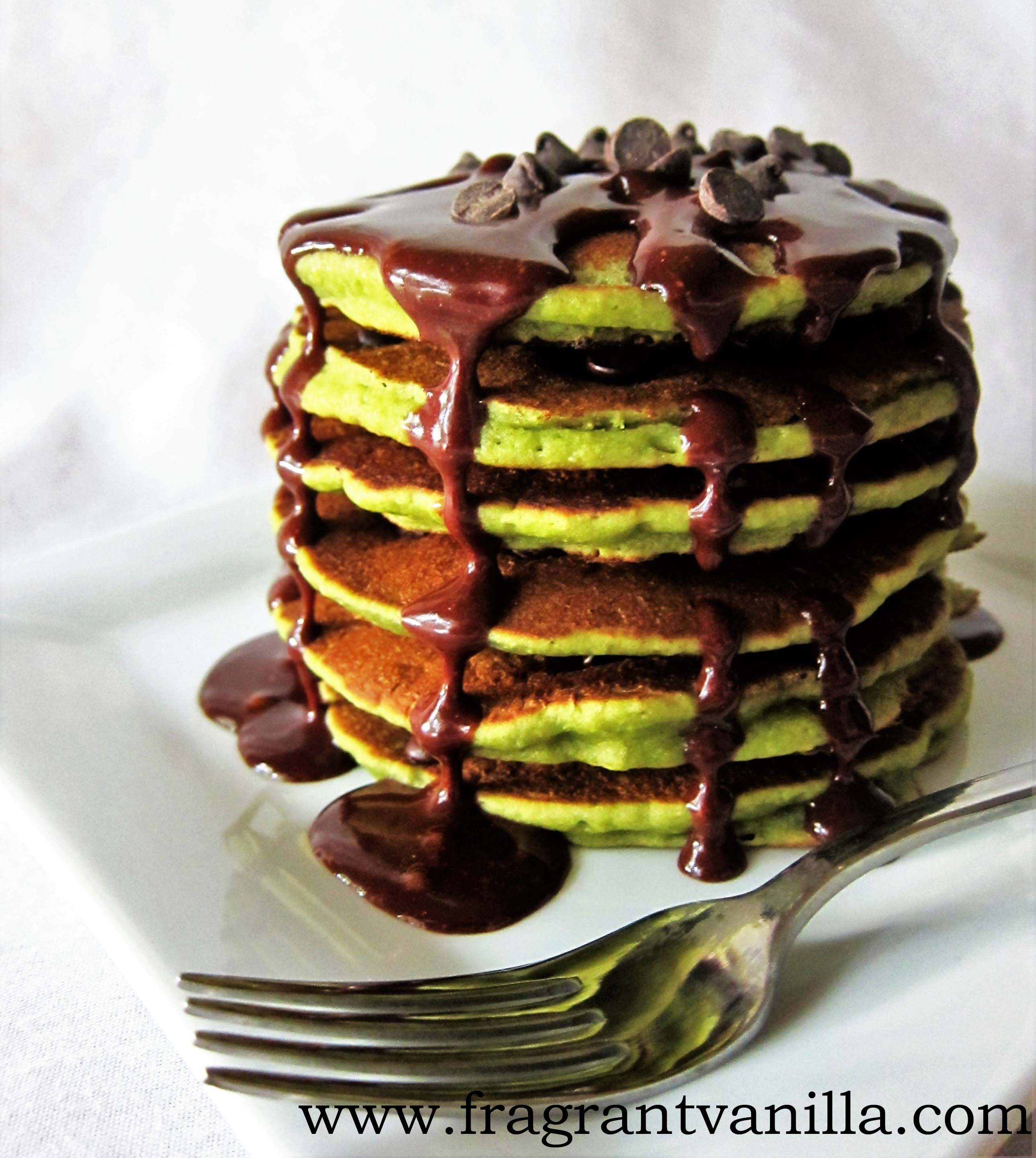 Vegan Matcha Chocolate Chip Pancakes