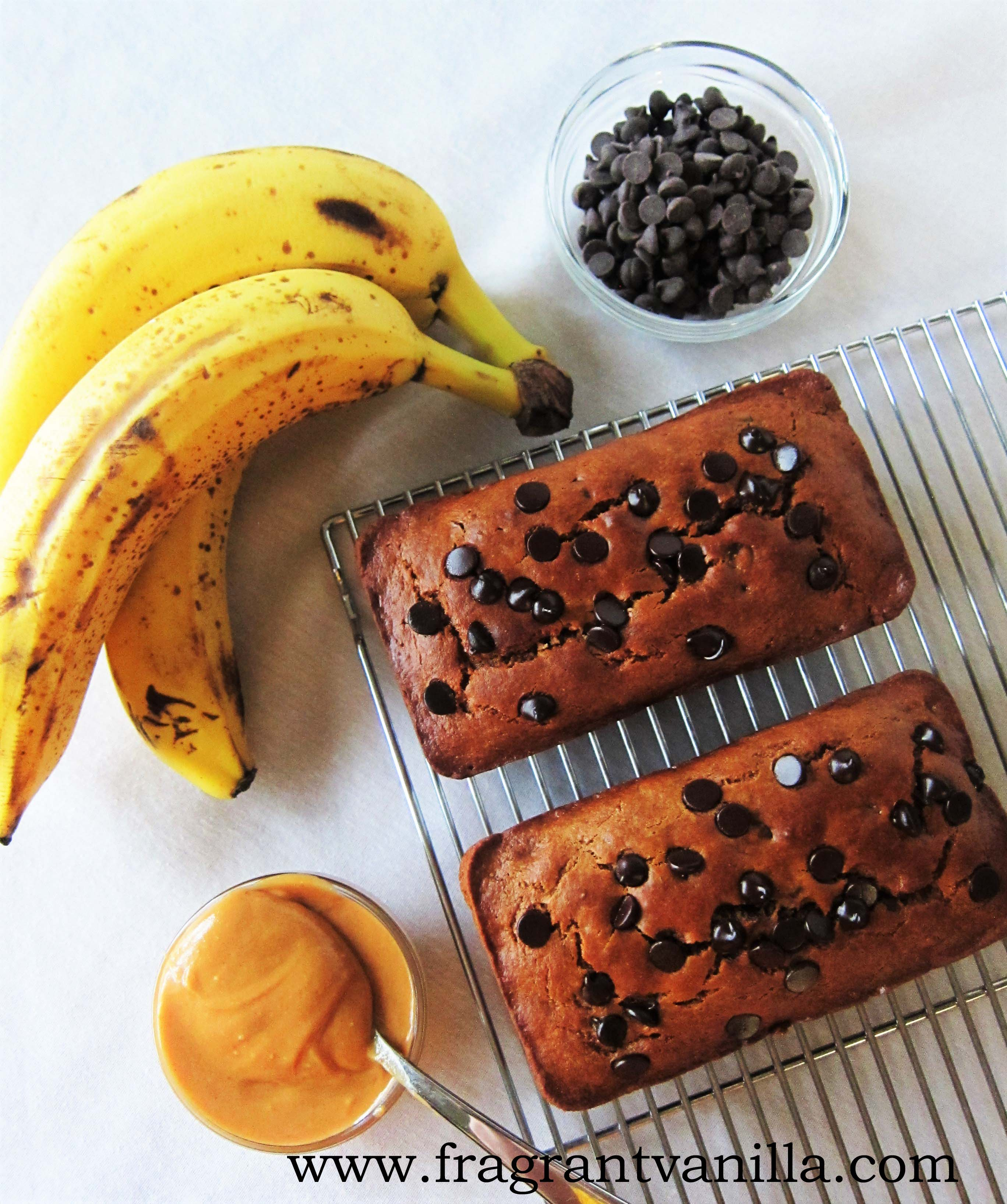 Vegan Peanut Butter Banana Chocolate Chip Bread