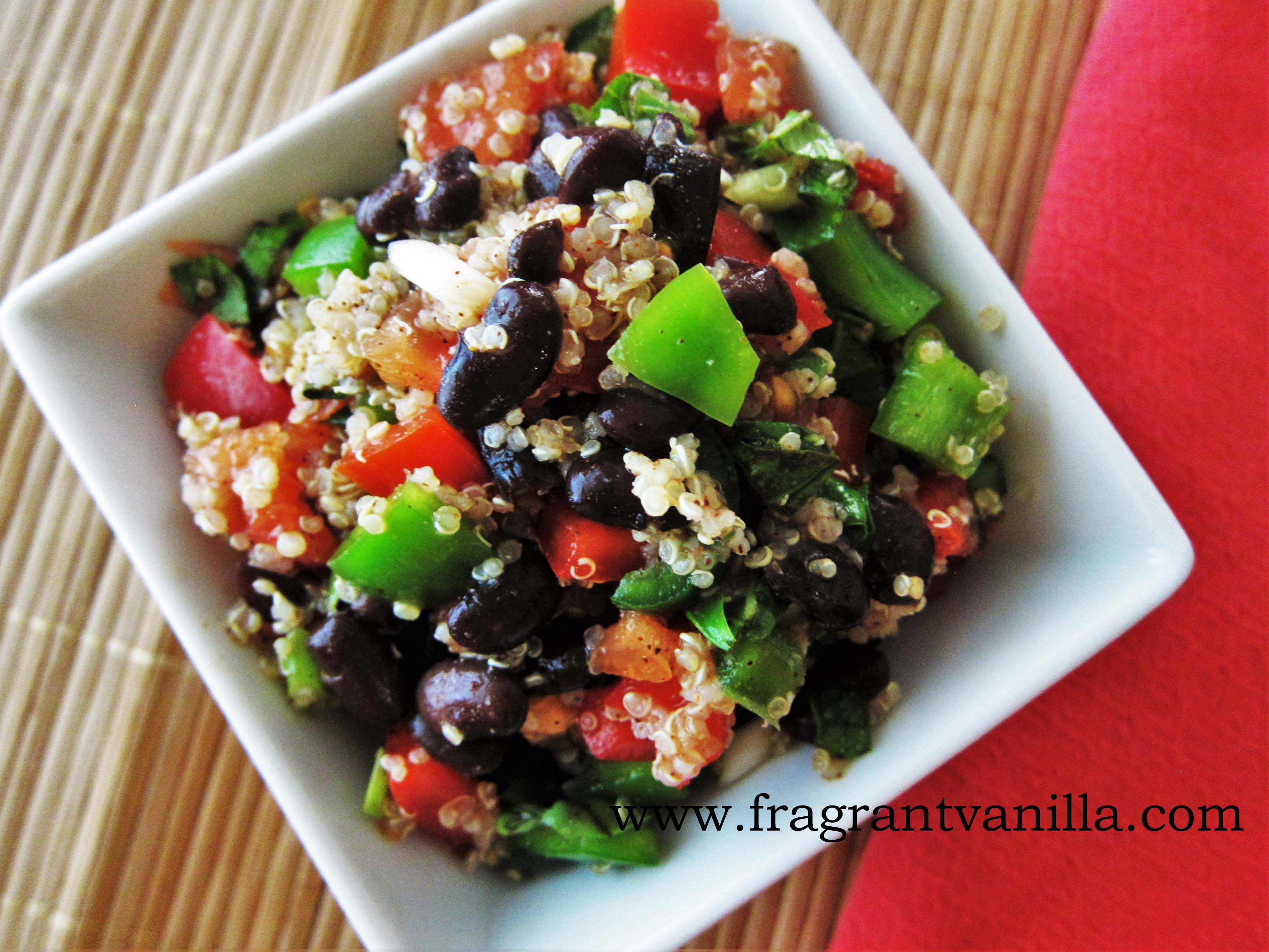 Spicy Quinoa Veggie Black Bean Salad