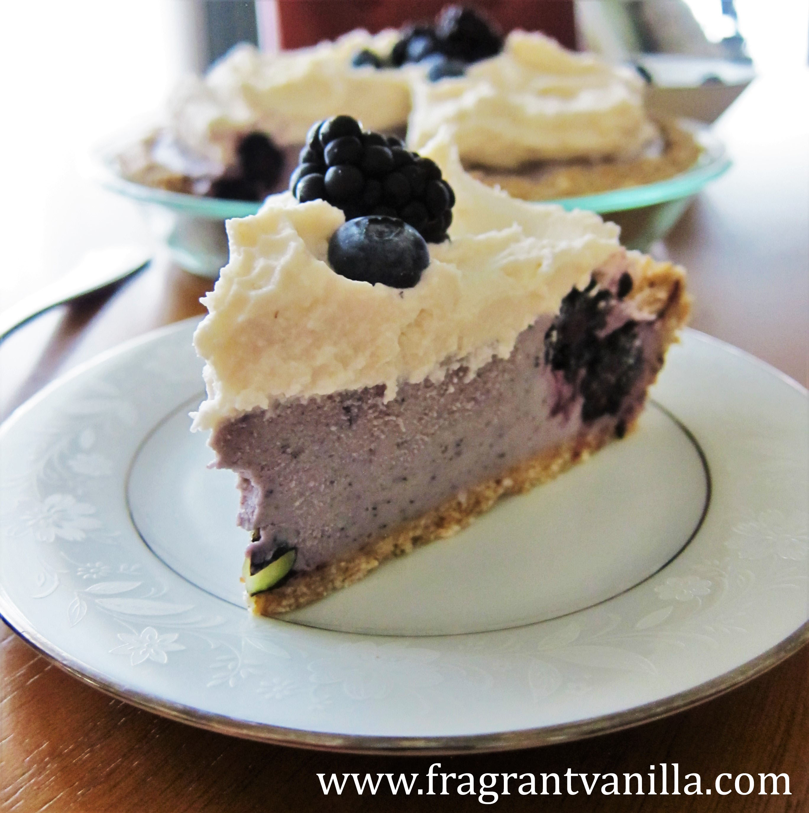 Vegan Black and Blue Berry Cheesecake Pie