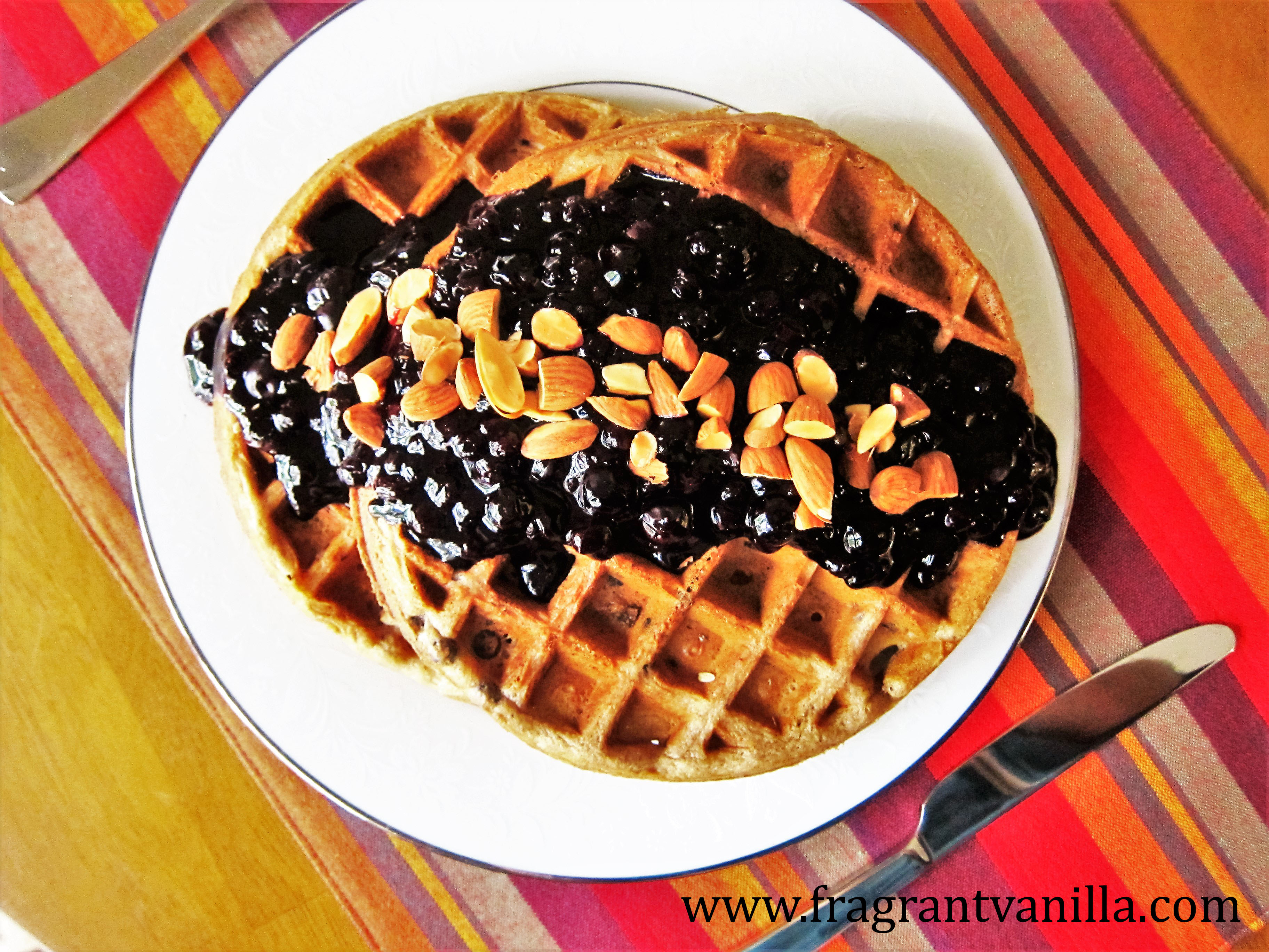 Vegan Double Blueberry Almond Waffles