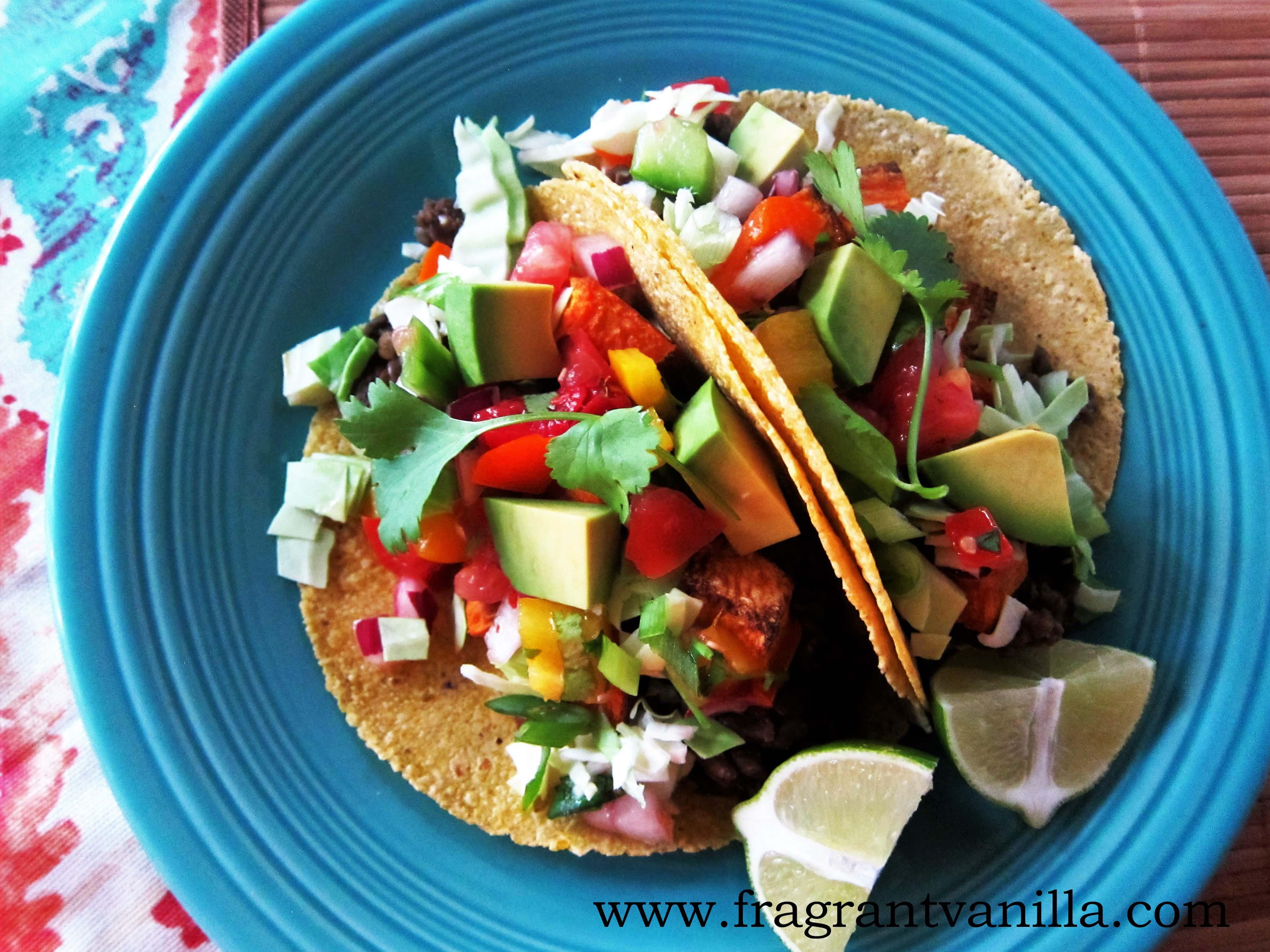 Vegan Lentil, Mushroom Yam Tacos