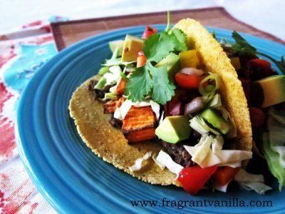 Lentil Yam and Mushroom Tacos