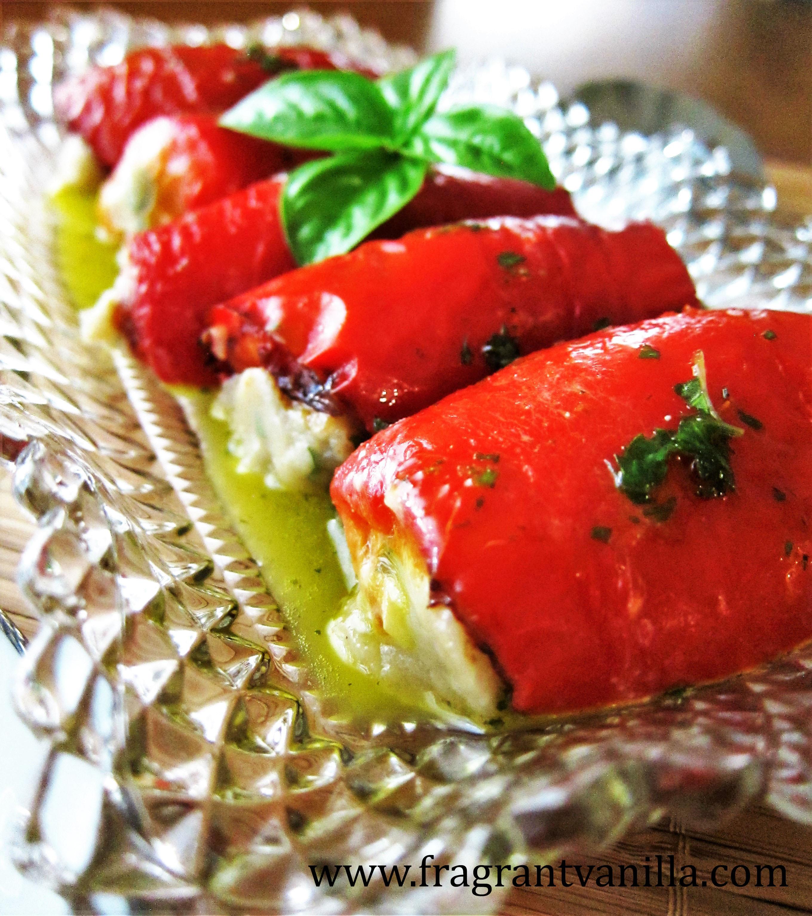 Vegan Roasted Red Pepper Basil Chevre Roll Ups