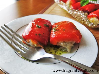 Vegan Roasted Red Peppers Stuffed with Basil Chevre