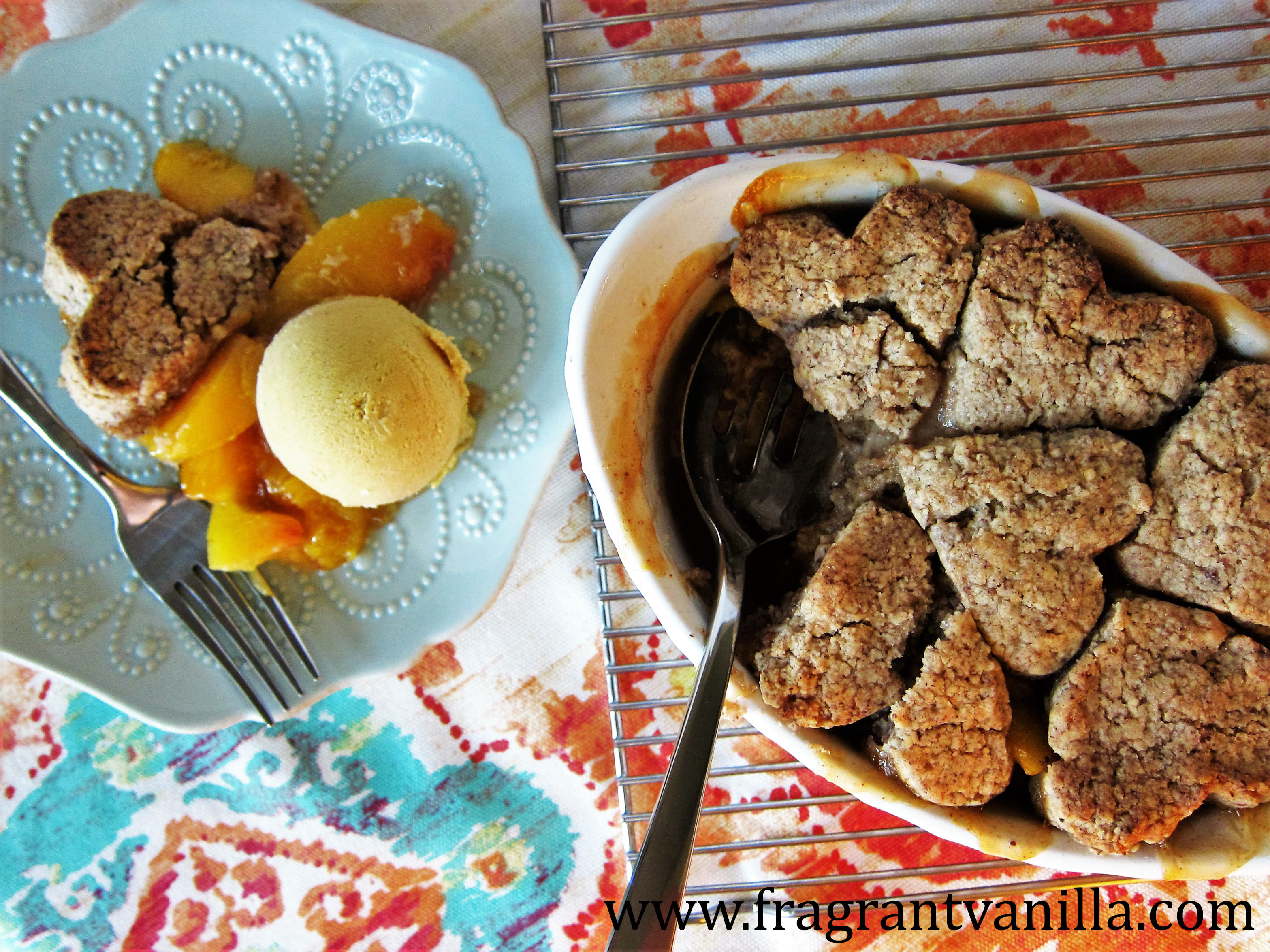 Vegan Chipotle Peach Cobbler with Pecan Biscuits
