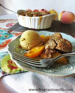 chipotle peach cobbler with pecan biscuits