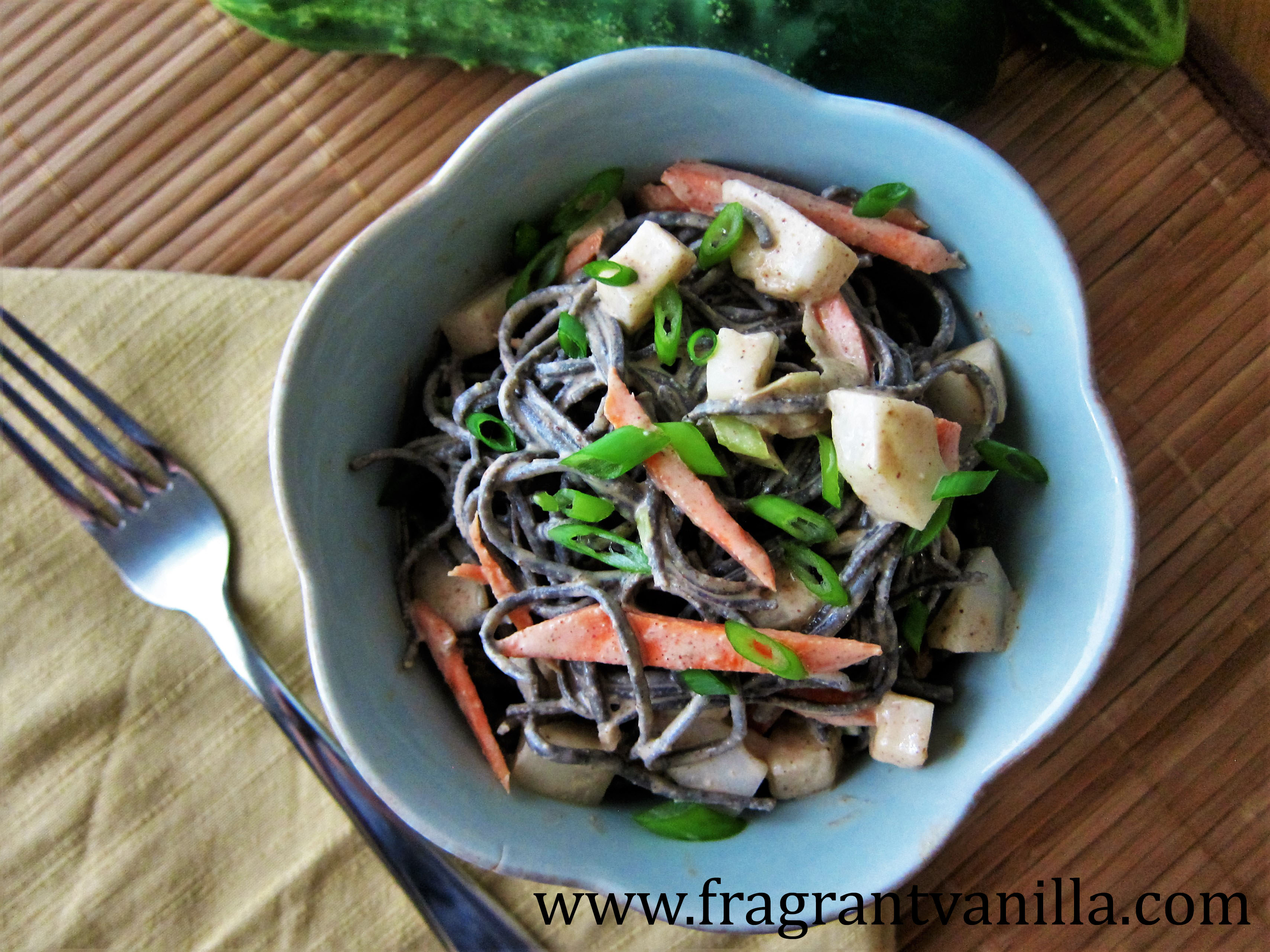 Cooling Cucumber Miso Almond Noodles