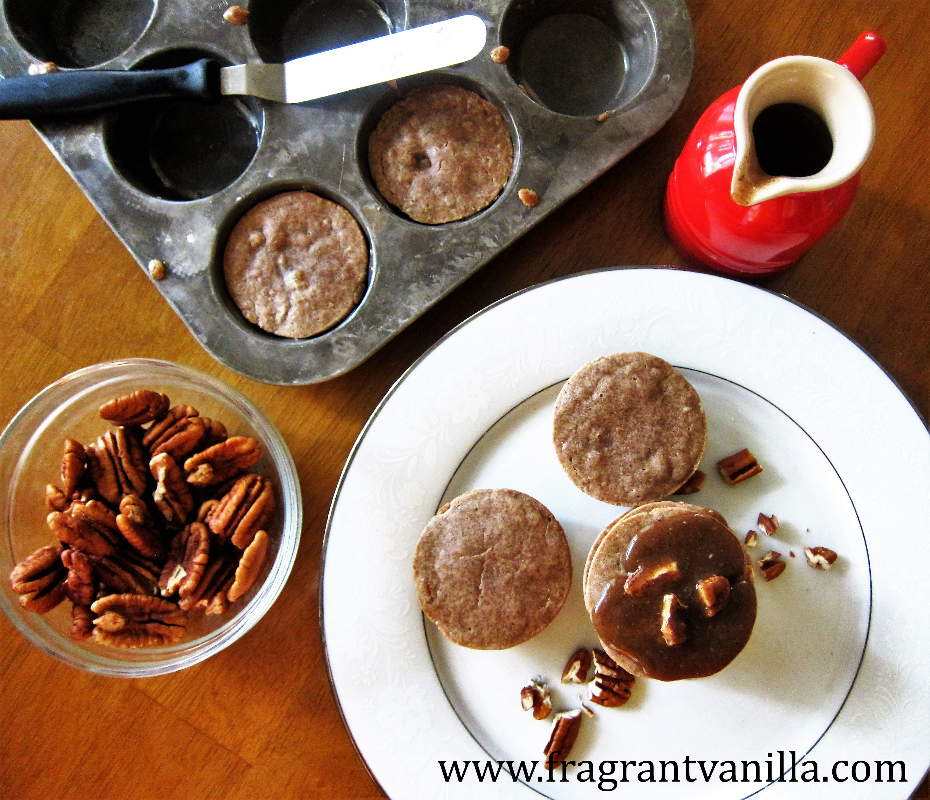 Vegan Maple Pecan Muffin Pancakes