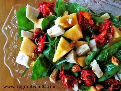 Summer Cantalope, Sun Dried Tomato and Chevre Salad