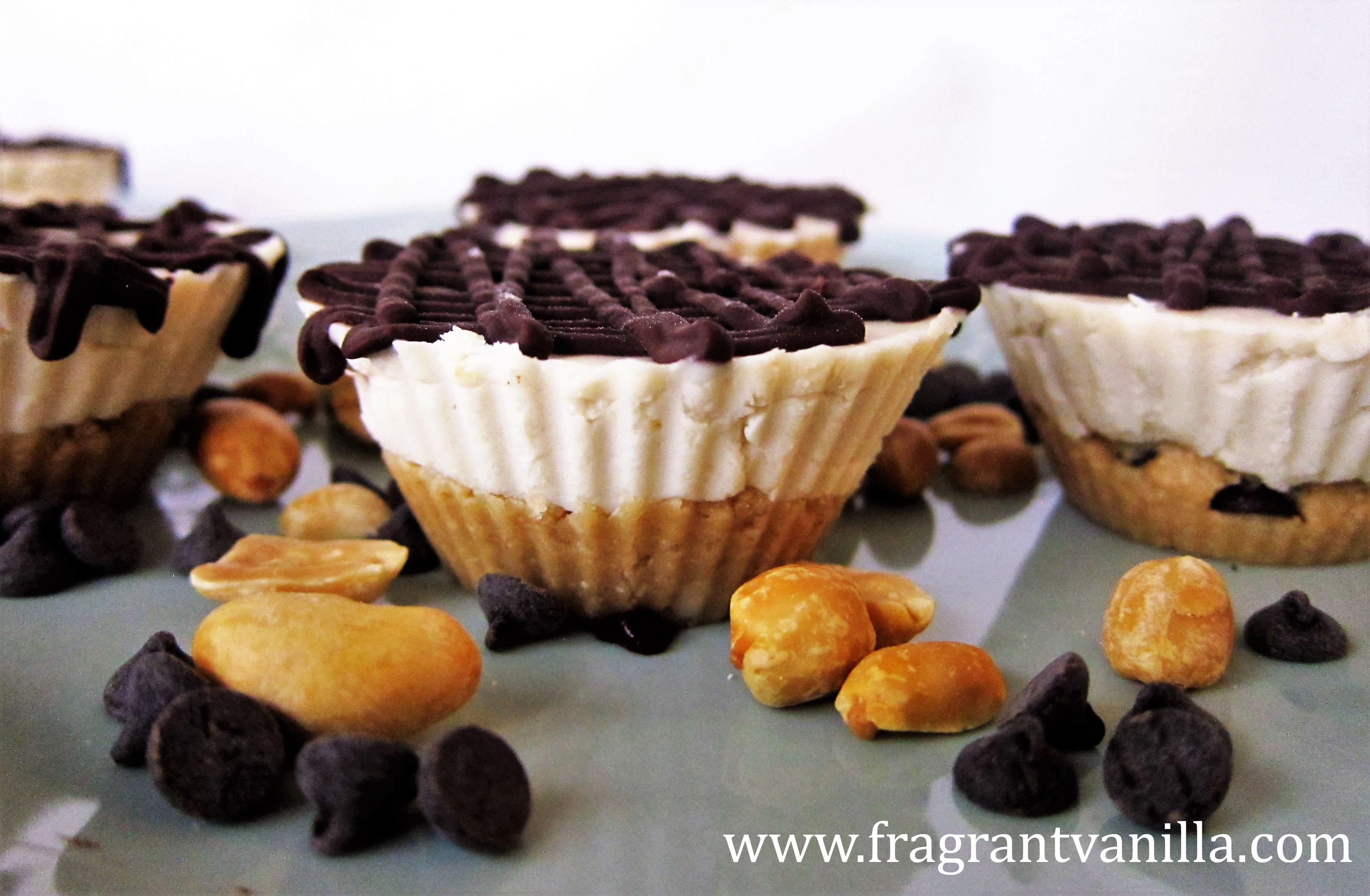 Vegan Mini Peanut Butter Chocolate Chip Cookie Dough Cheesecakes