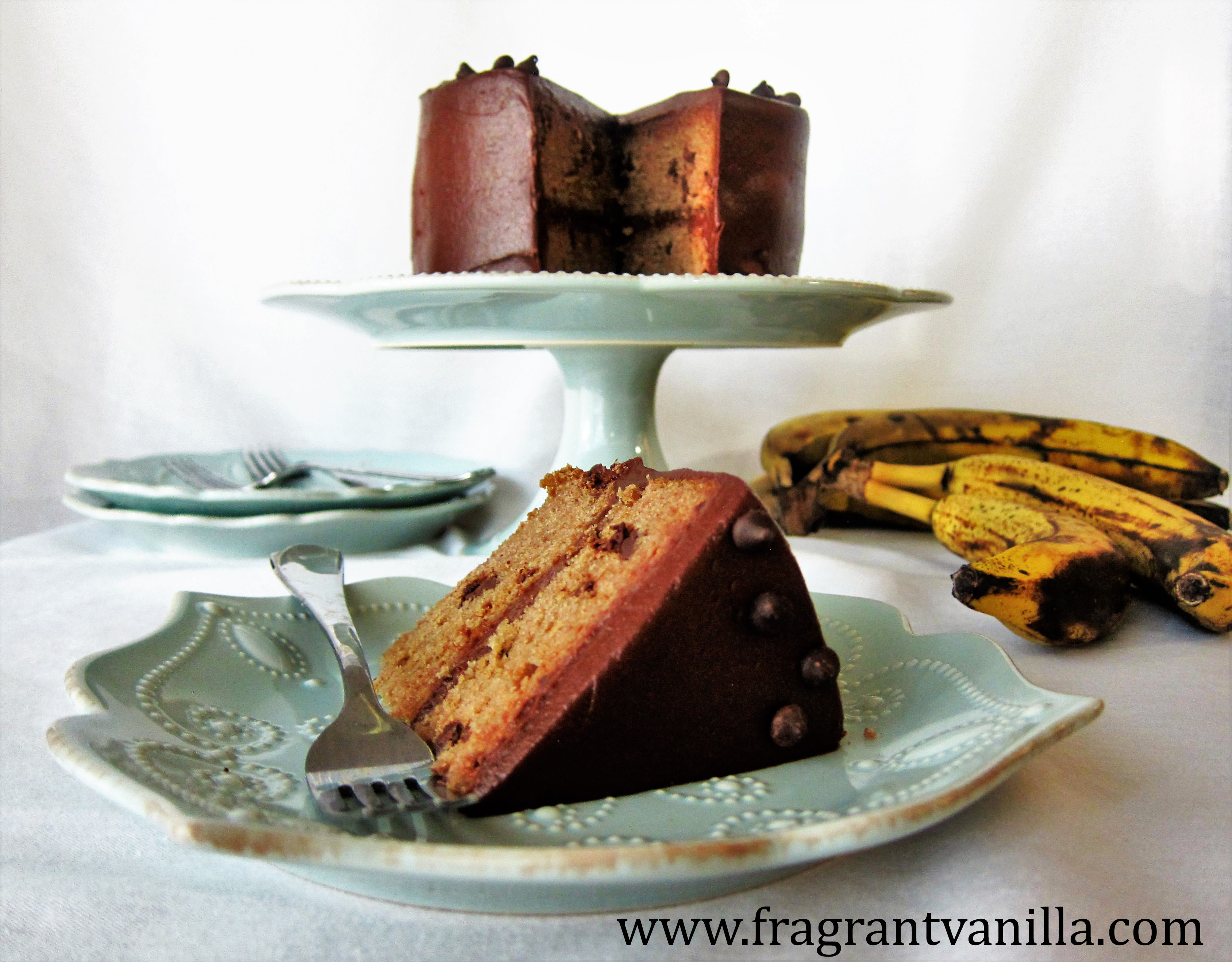 Vegan Chocolate Chip Banana Cake with Peanut Butter Fudge Frosting
