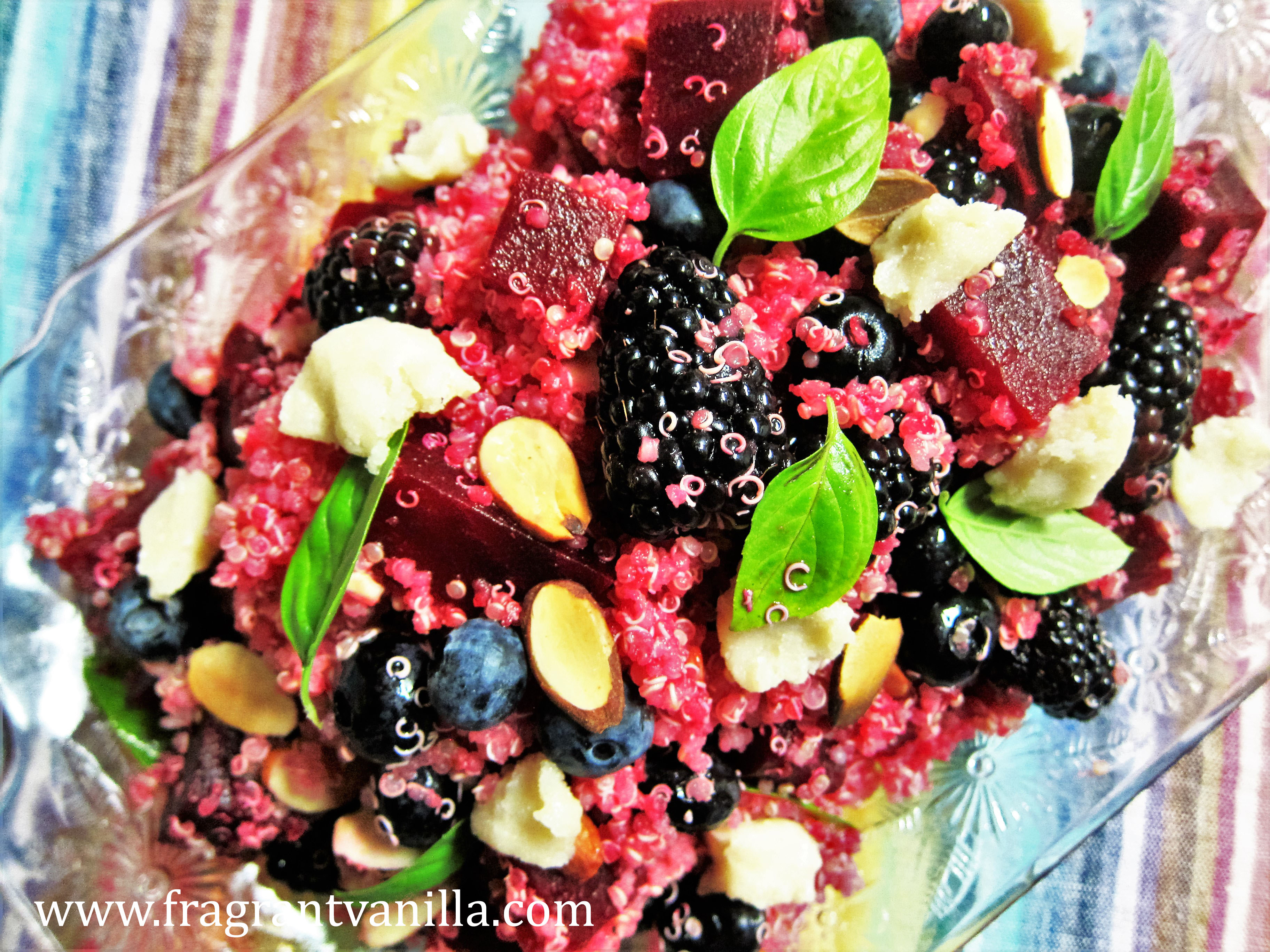 "Berries and Beets Quinoa Salad with ""Chevre"""