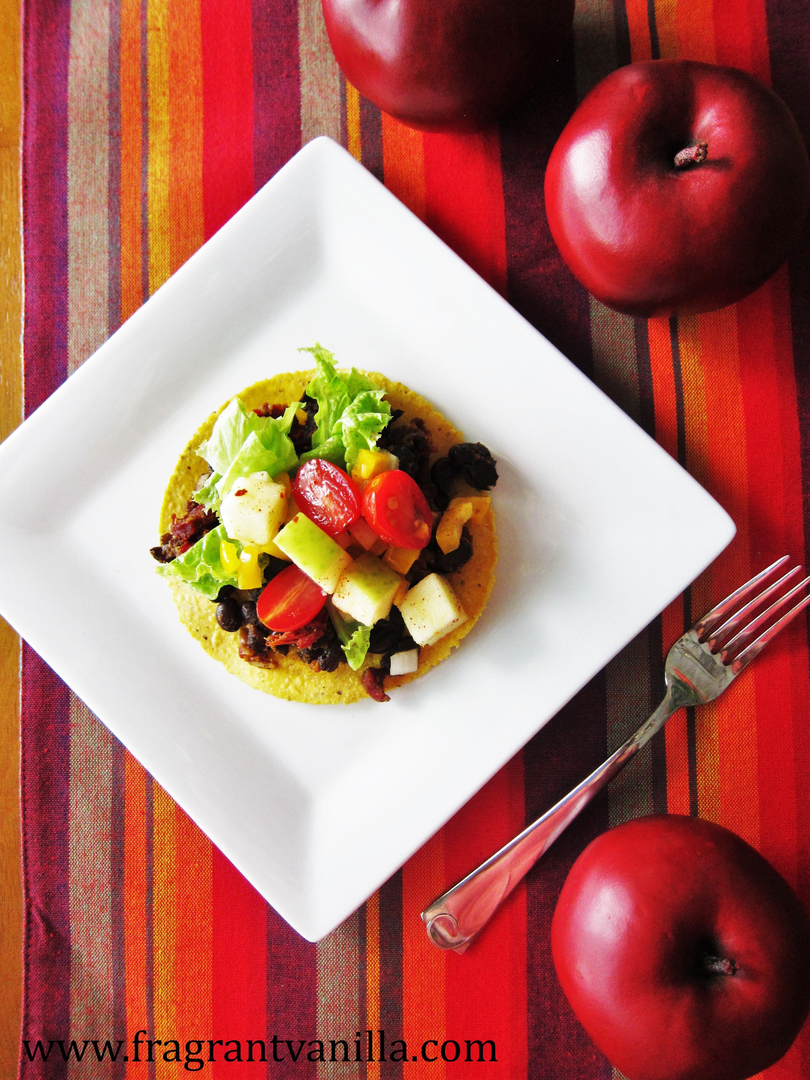 Vegan Black Bean Tostadas with Apple Salsa