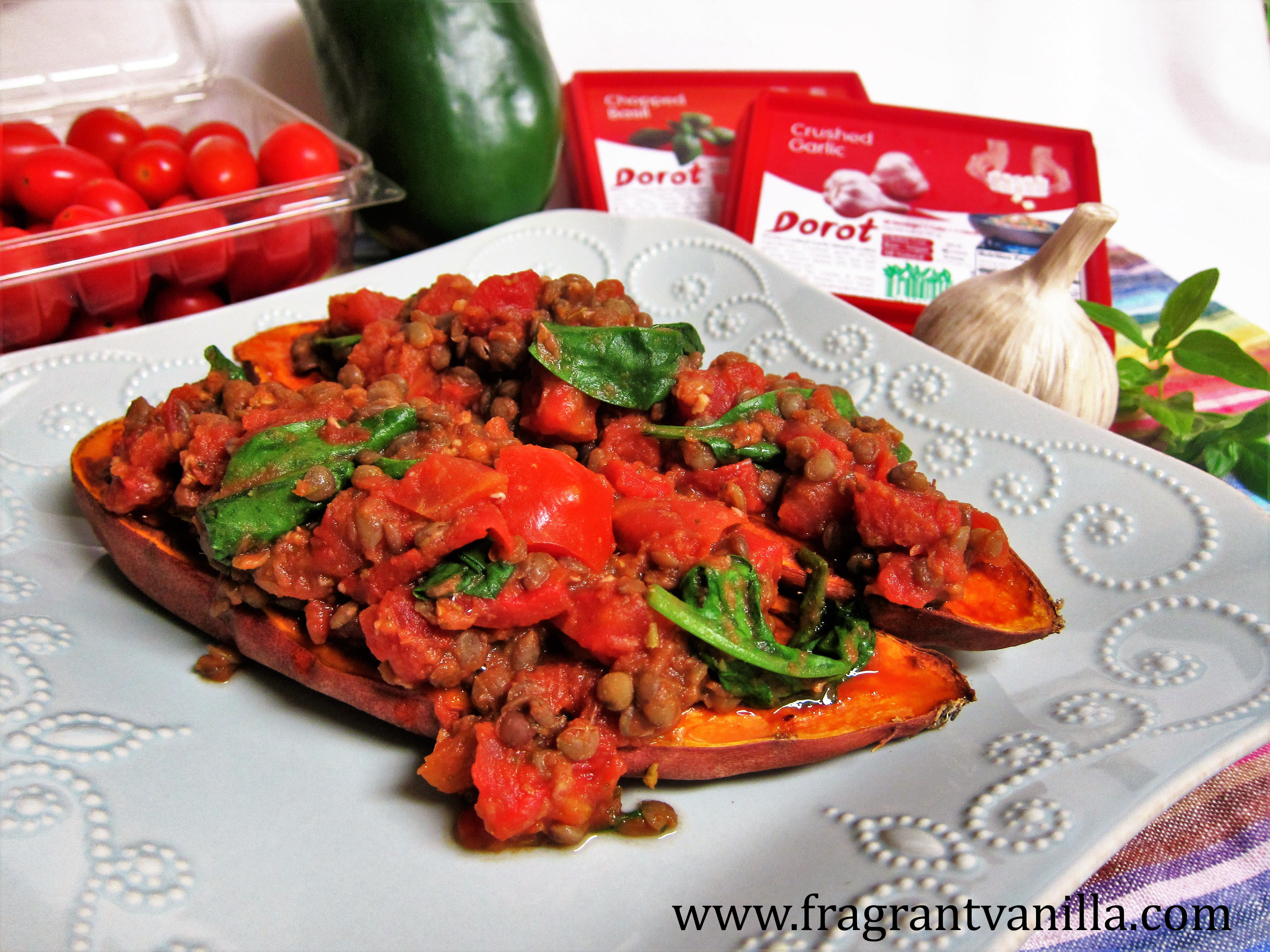 Cooking with Dorot Basil and Garlic and Italian Stuffed Roasted Sweet Potatoes
