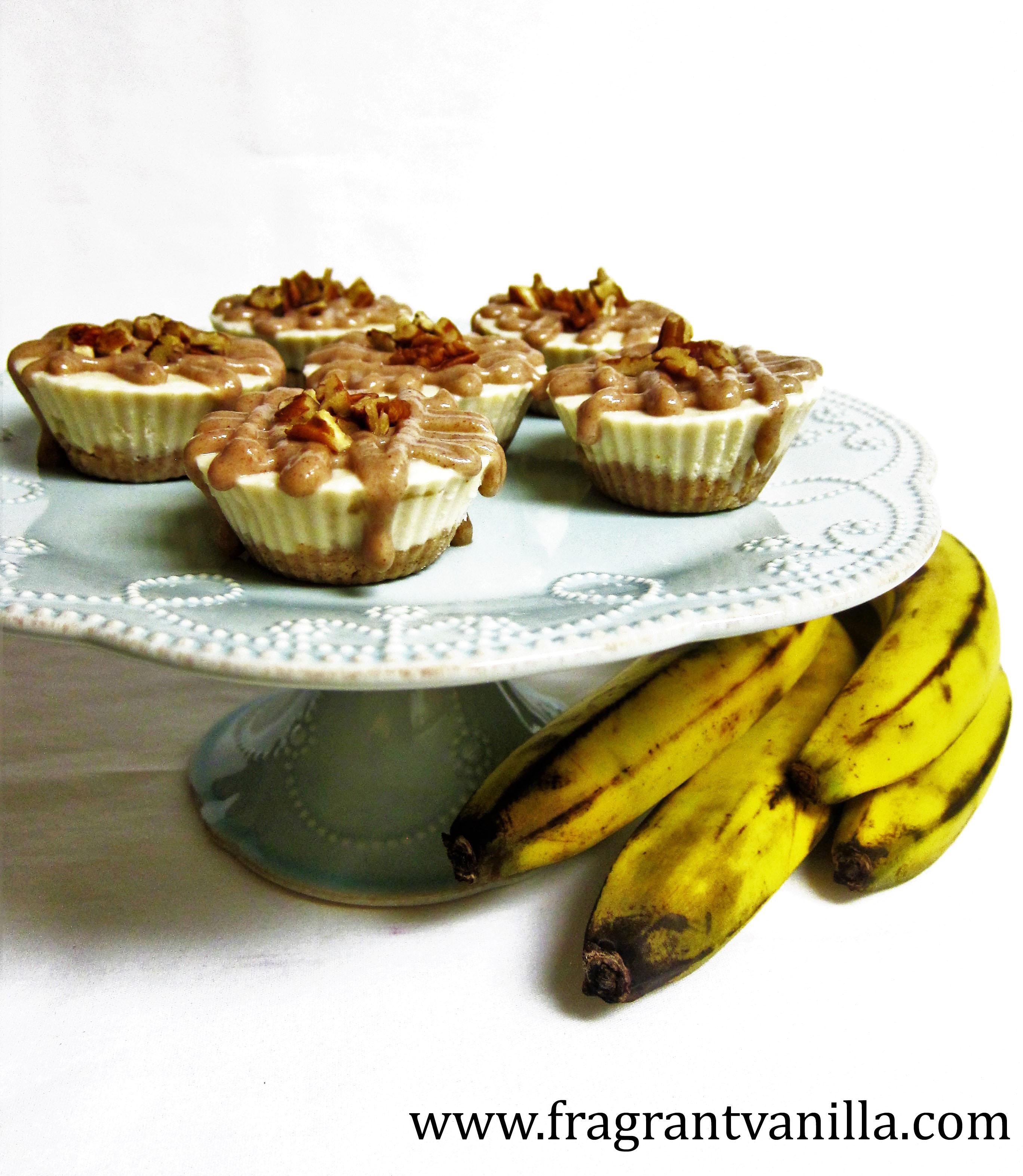 Vegan Mini Caramel Pecan Banana Cream Cheesecakes