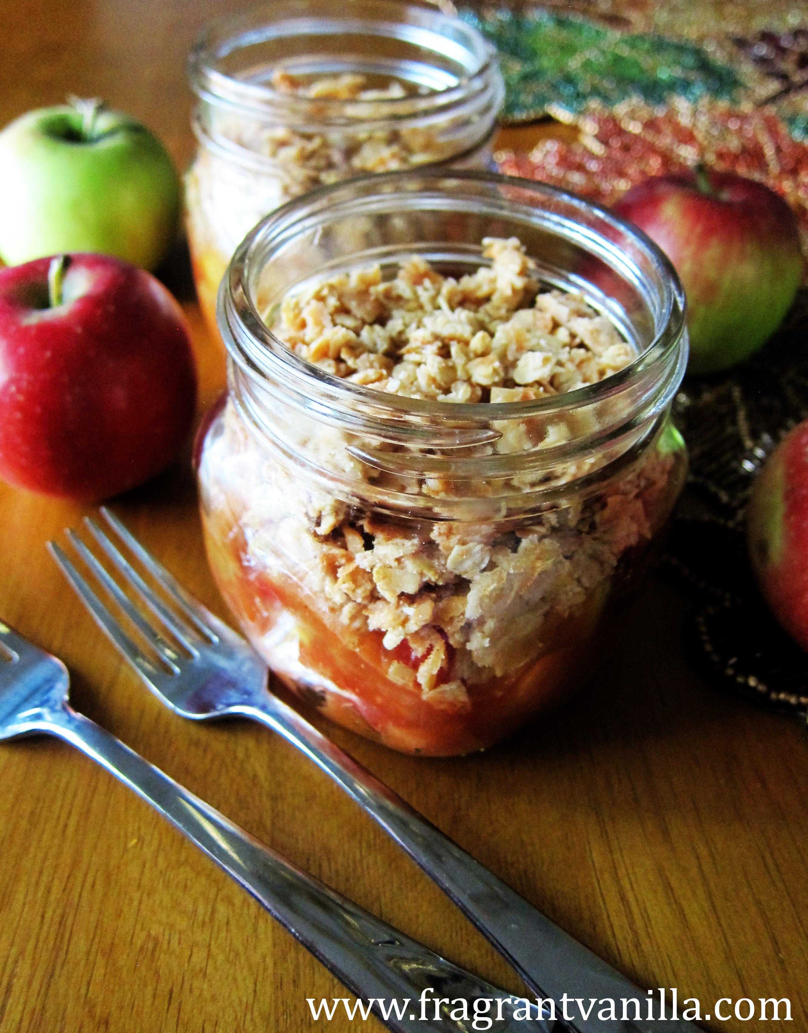 Vegan Spiced Apple Crisp in a Jar