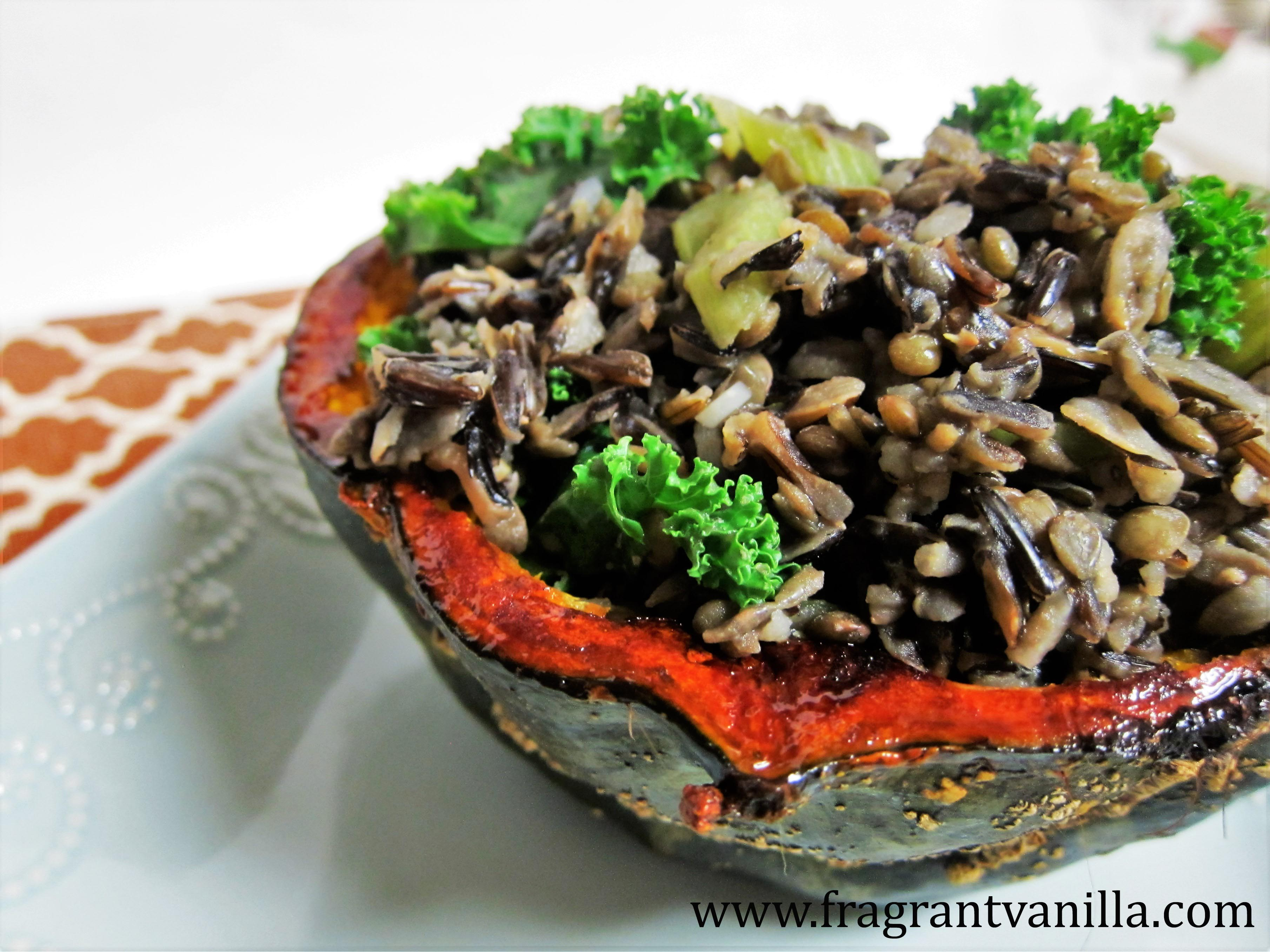 Savory Lentil and Wild Rice Stuffed Squash