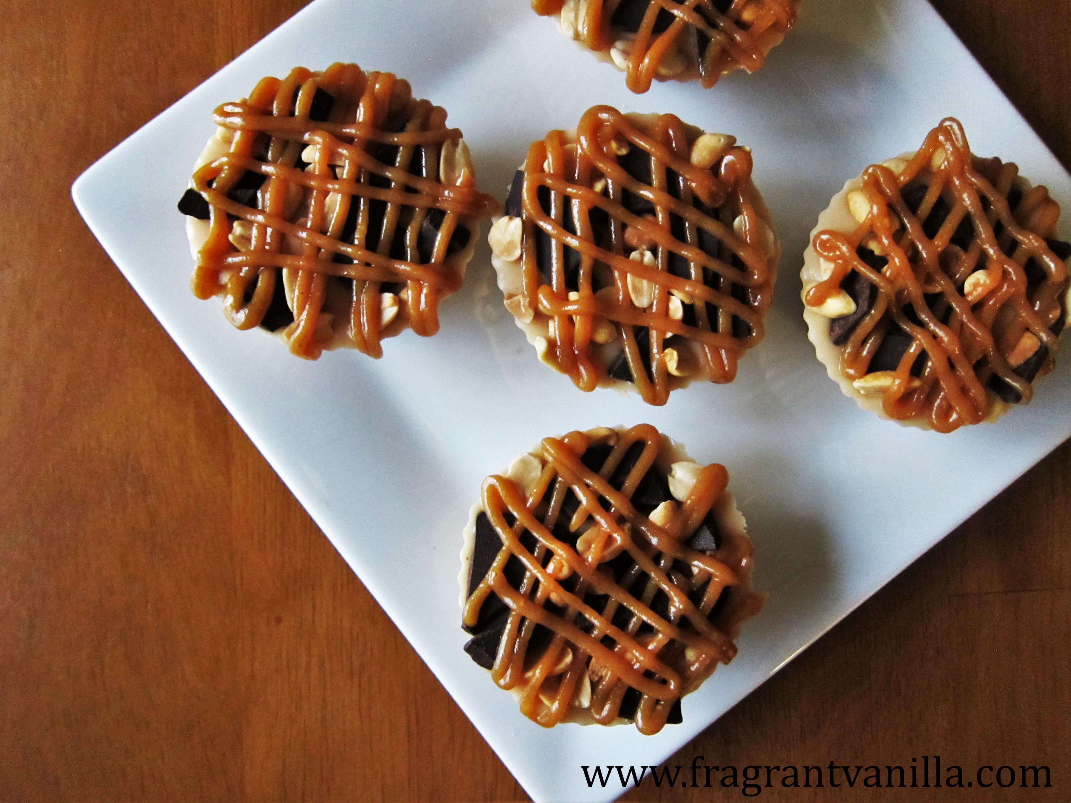 Mini Vegan Snickers Cheesecakes