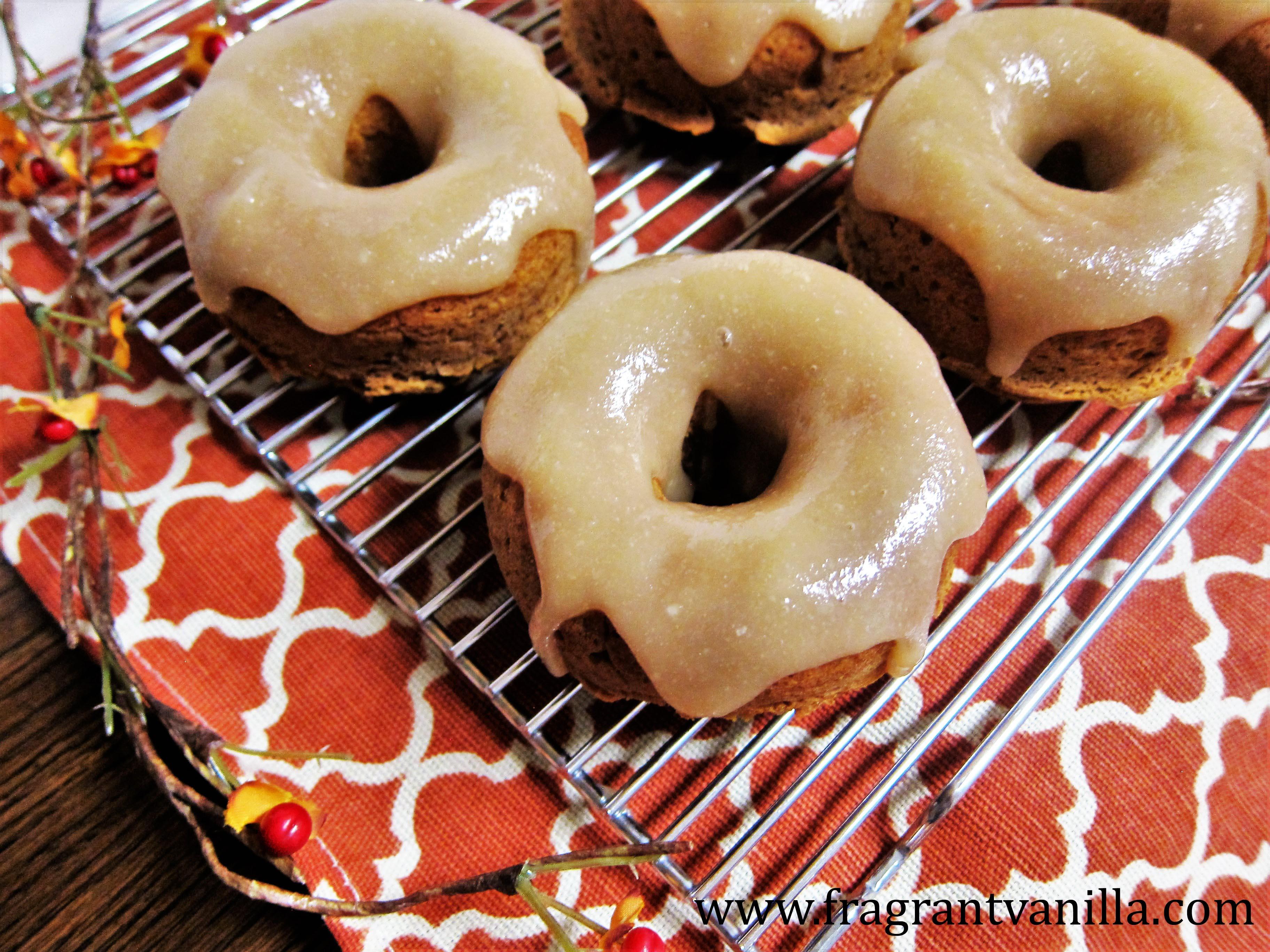 Vegan Pumpkin Doughnuts with Maple glaze