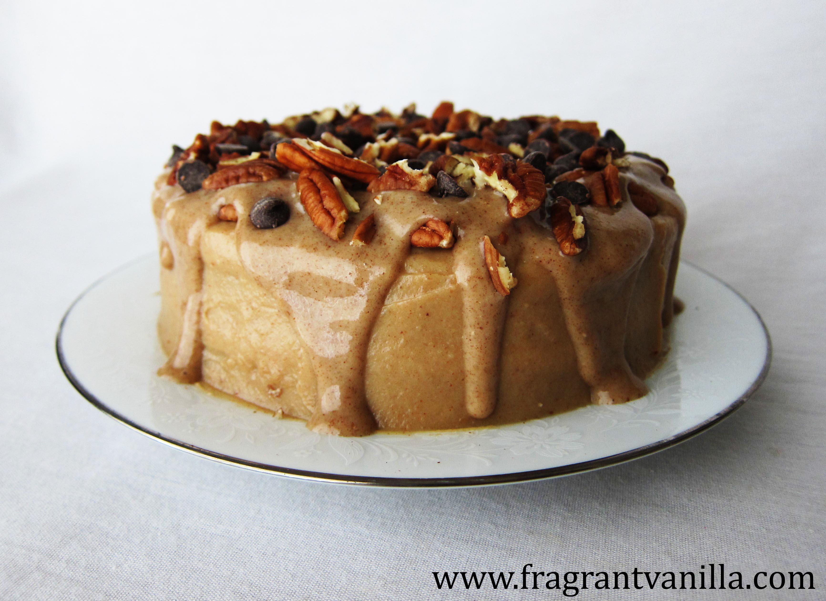 VeganDark Chocolate Bourbon Caramel Pecan Cake