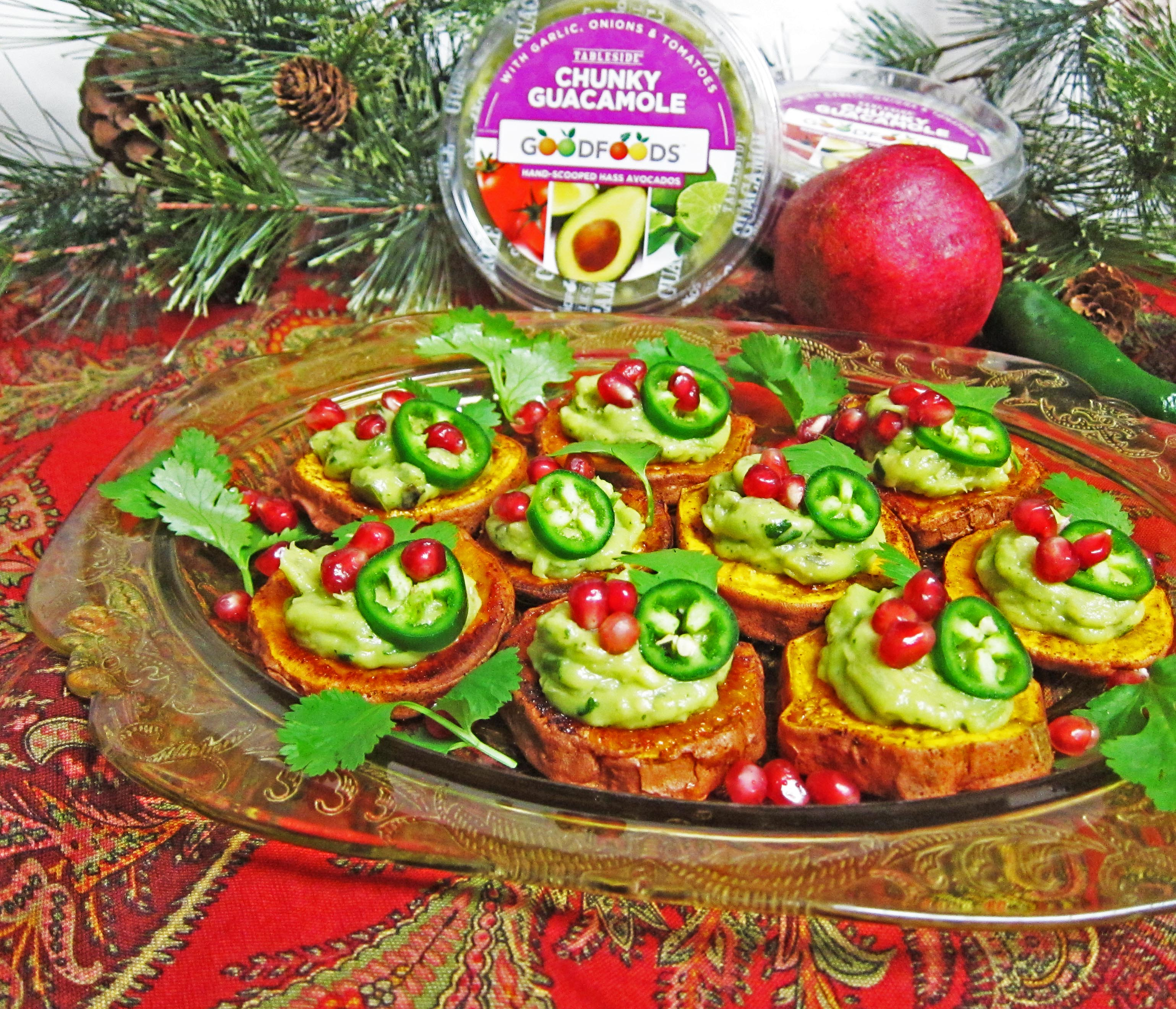 Holiday Entertaining! Mini Sweet Potato Avocado Crostini and GOODFOODS Guacamole