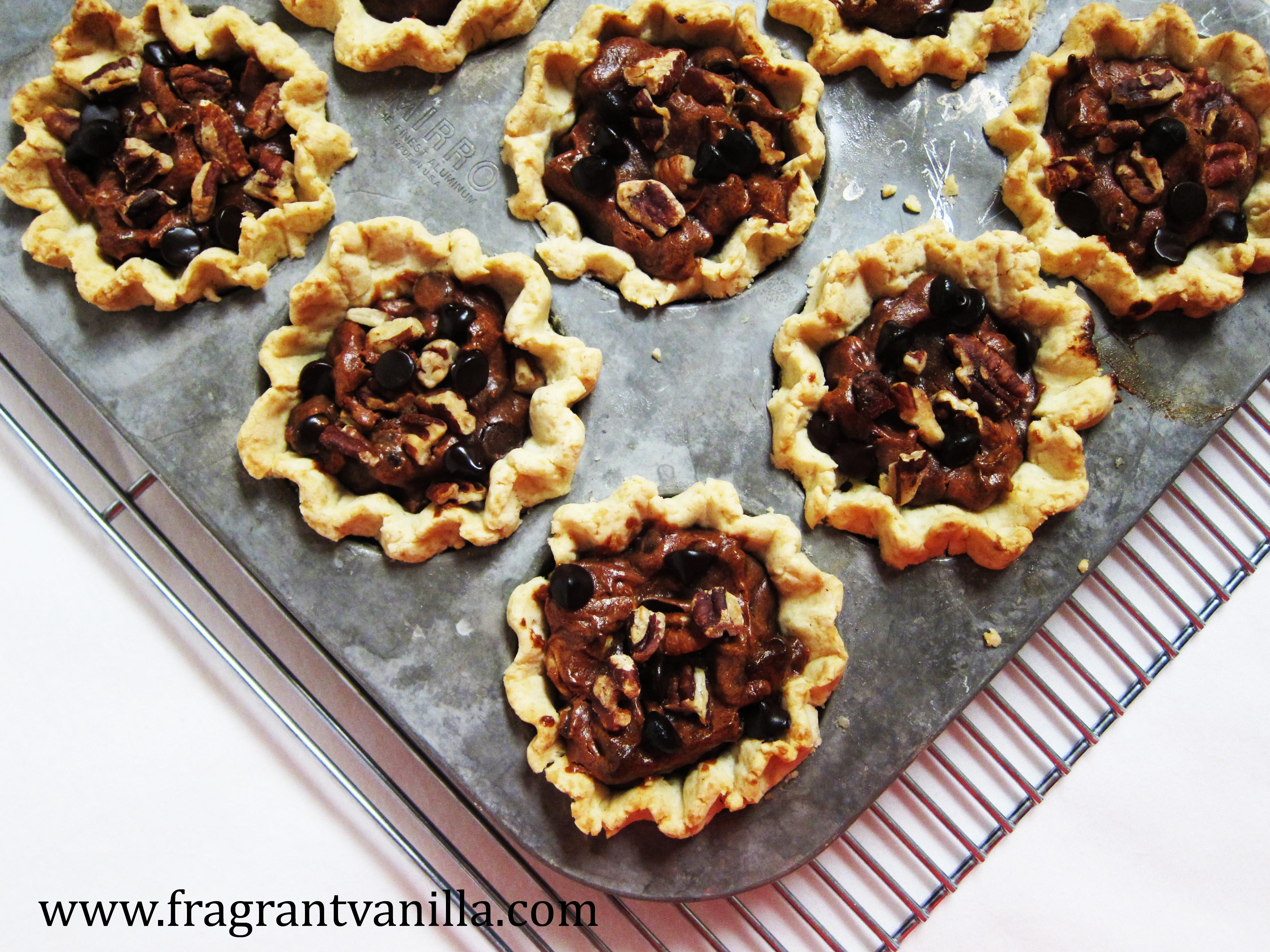 Vegan Mini Chocolate Cinnamon Pecan Pies