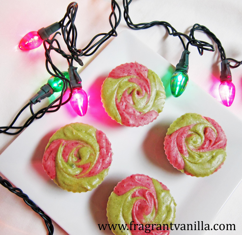 Vegan Mini Peppermint Swirl Cheesecakes