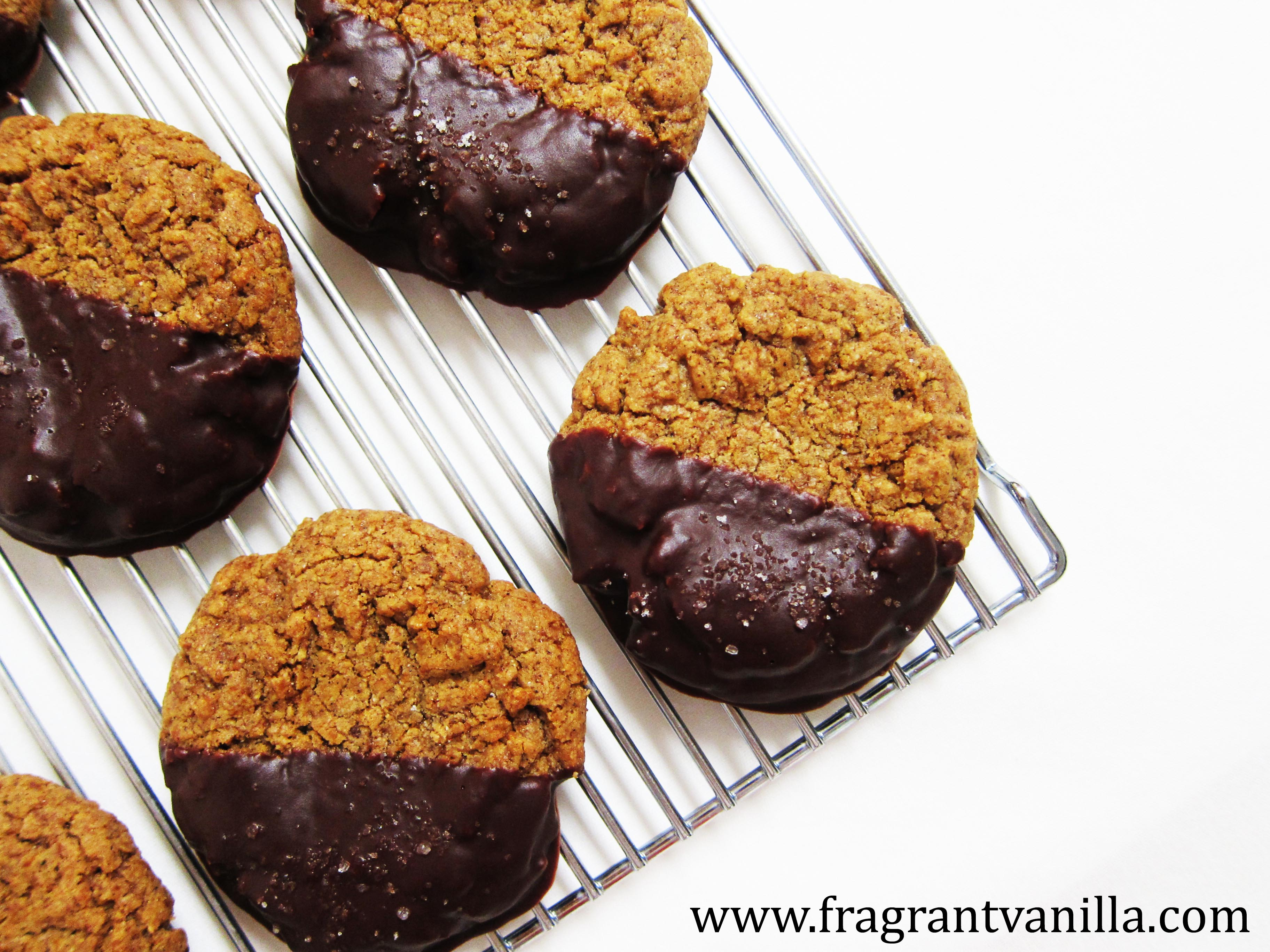 Vegan Chocolate Dipped Salted Almond Butter Cookies