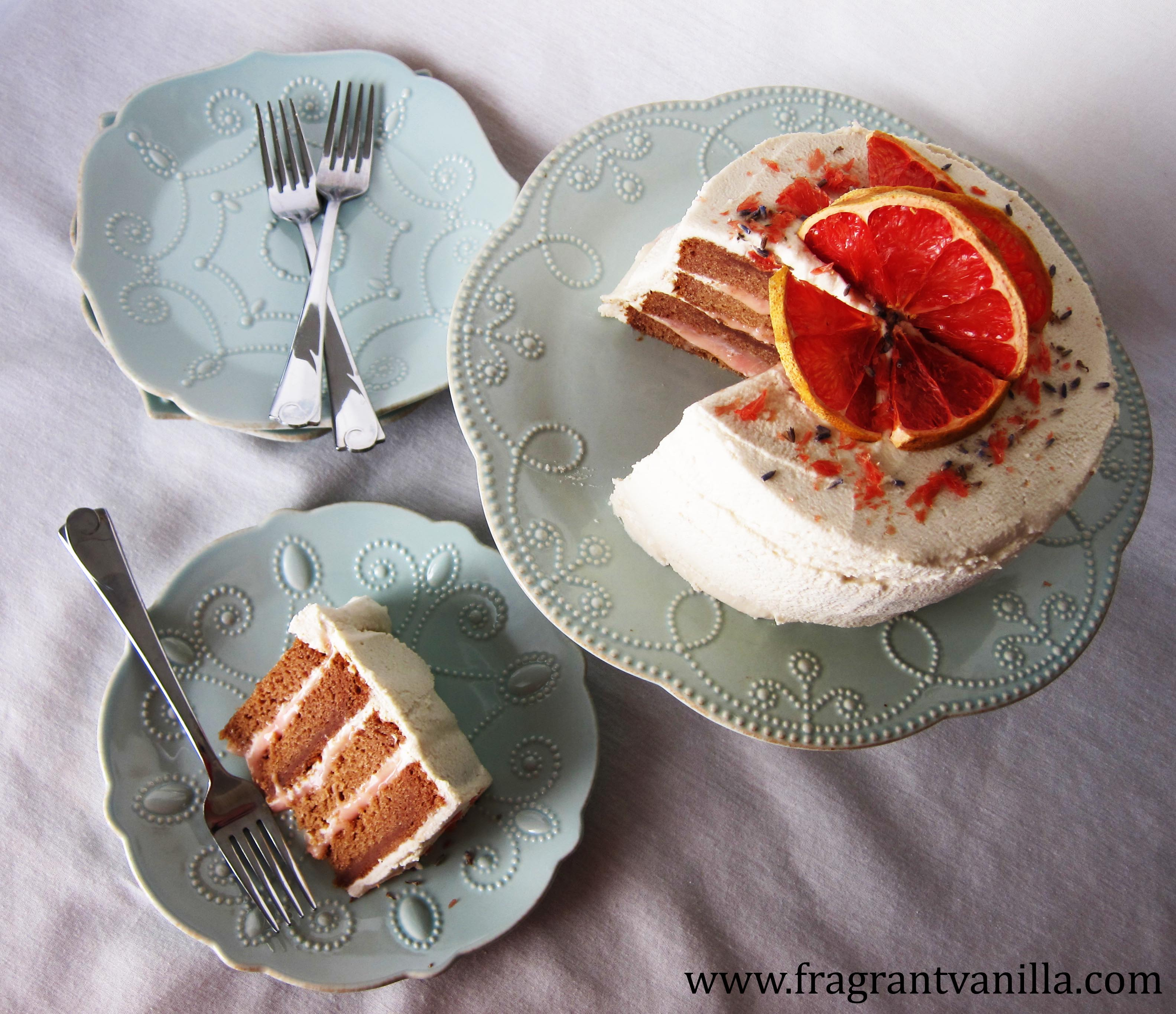 Vegan White Chocolate Grapefruit Cake