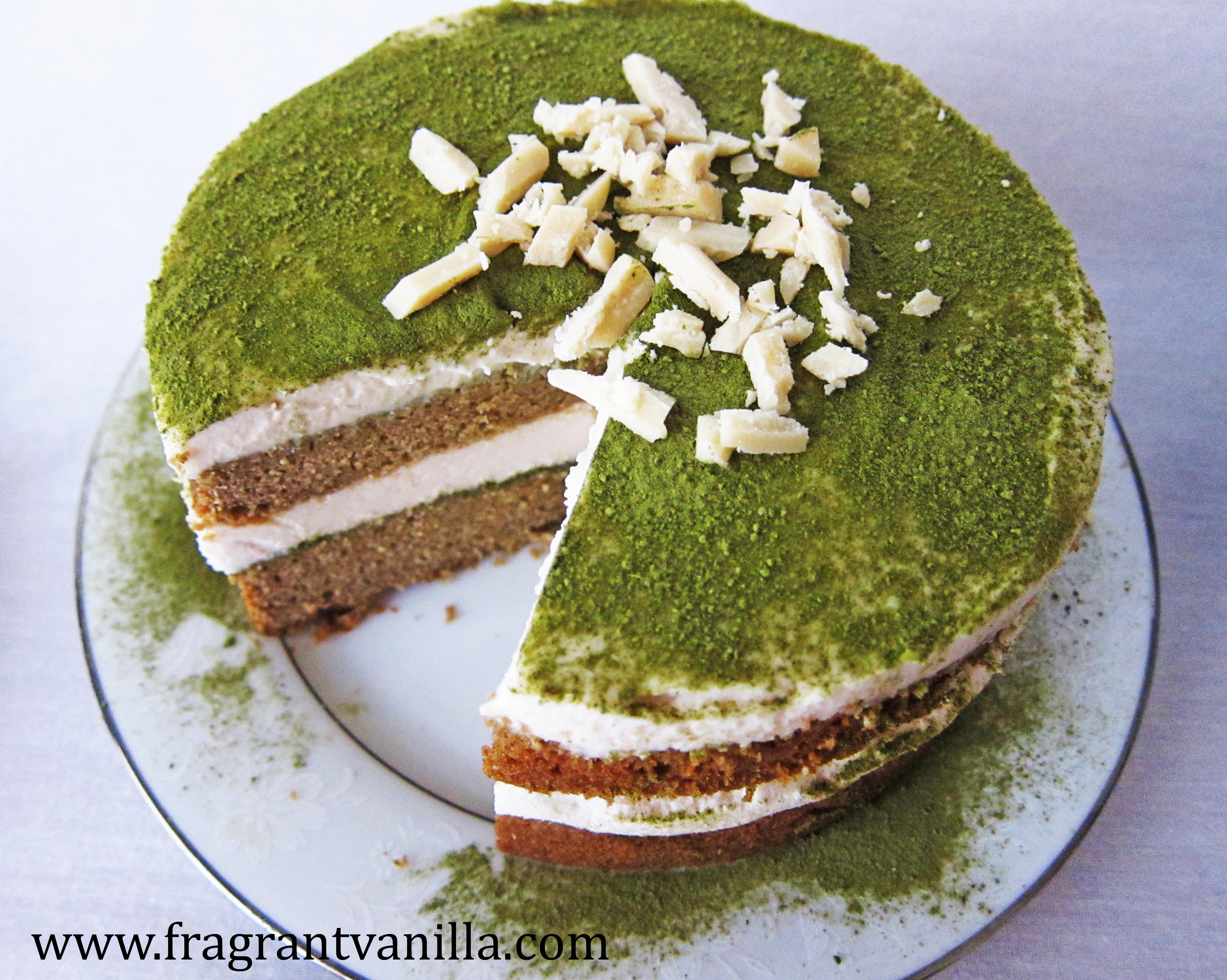 VeganMatcha White Chocolate Tiramisu Cake