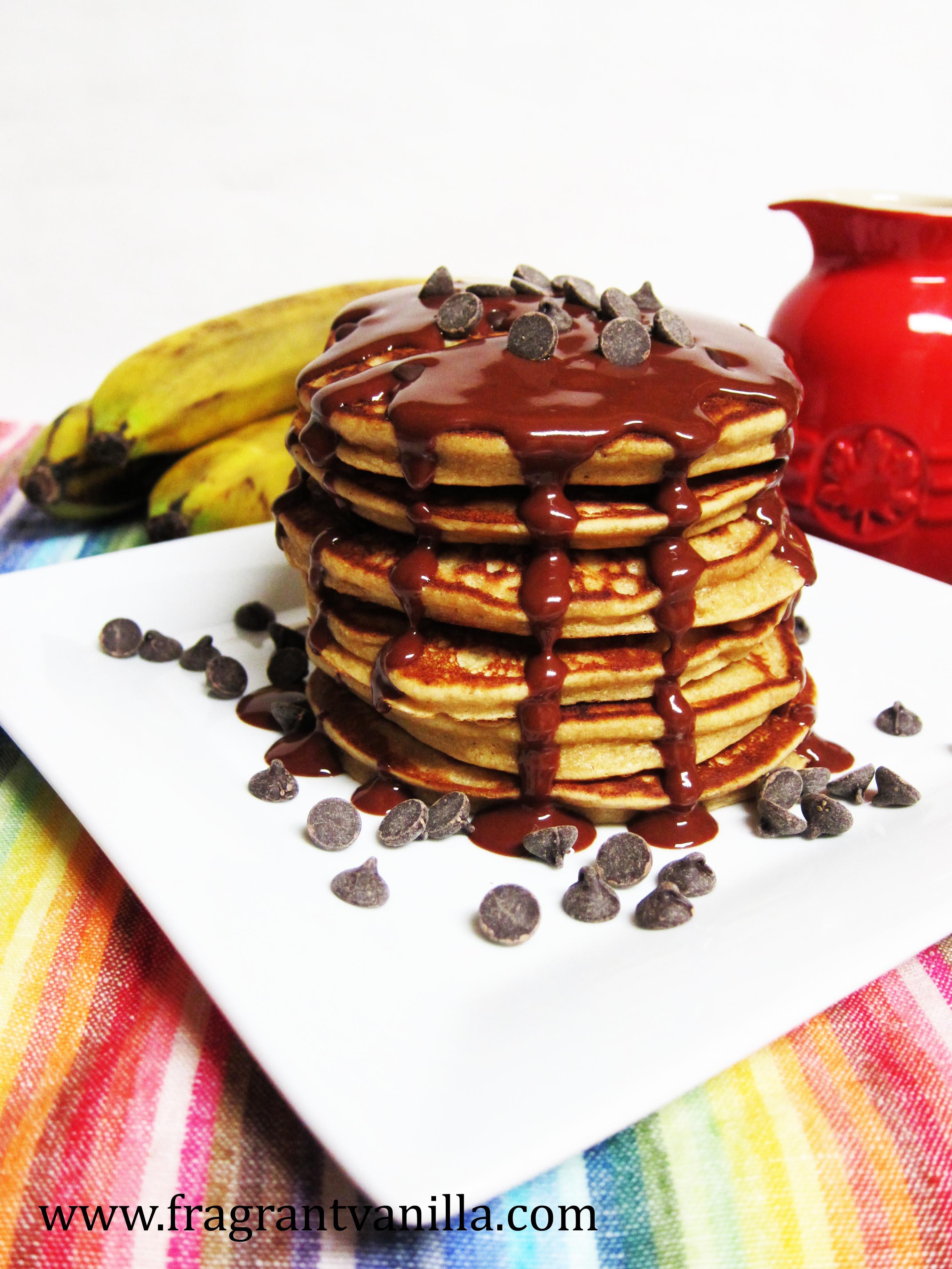Vegan Peanut Butter Banana Chocolate Chip Pancakes
