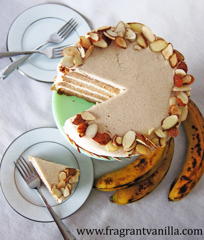 "VeganBanana Almond Cake with ""Cream Cheese"" Frosting"