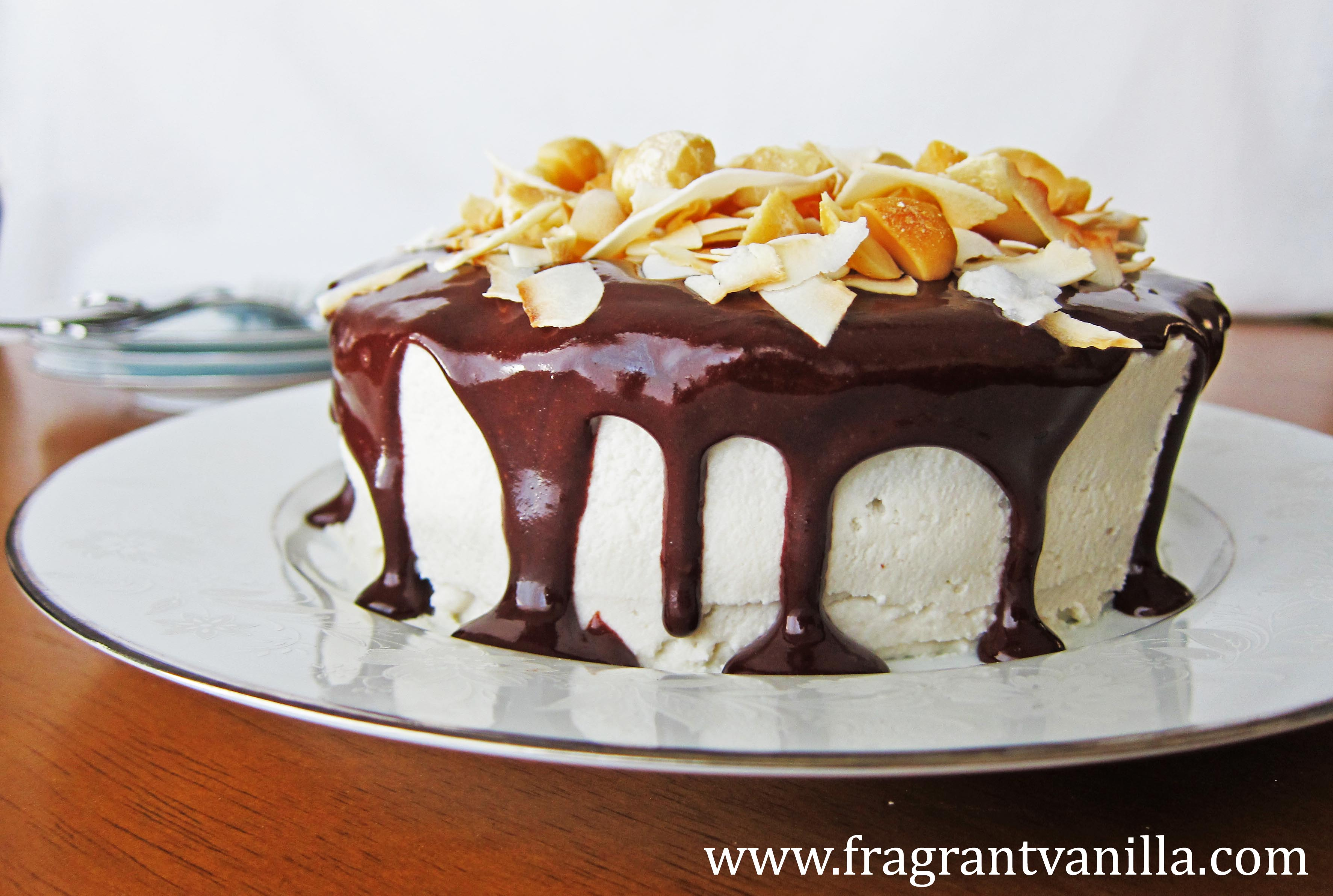 VeganDark Chocolate Coconut Macadamia Cake