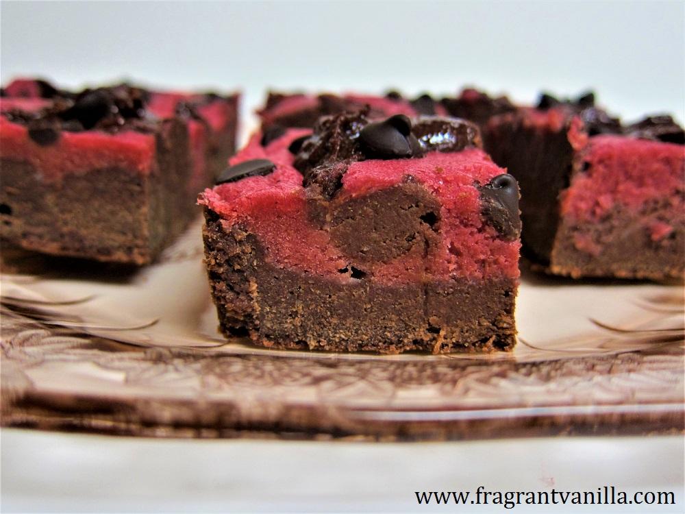 Vegan Pink Velvet Cheesecake Swirl Brownies