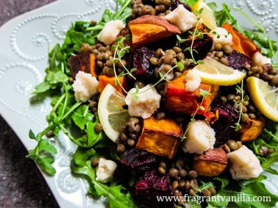 Roasted Beet, Sweet Potato and Lentil Salad