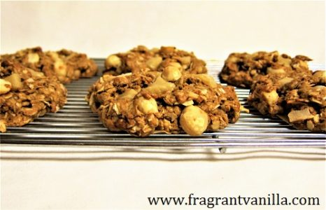 Vegan Macadamia Coconut White Chocolate Oatmeal Cookies