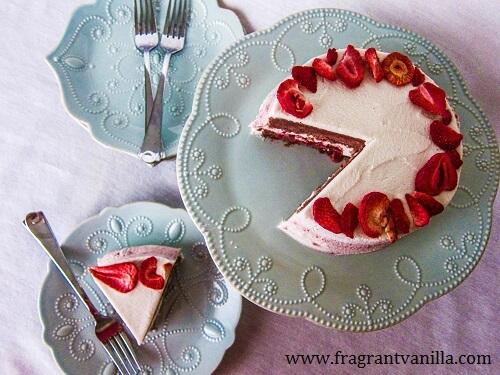 Vegan Strawberries and Cream Layer Cake