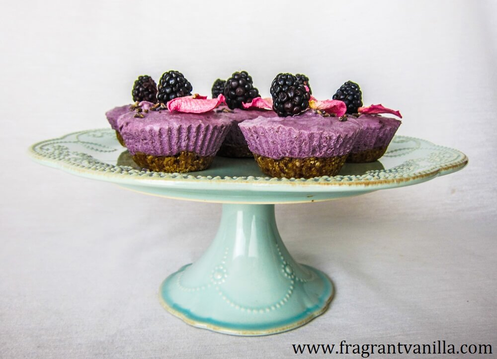 Mini Vegan Vanilla Blackberry Cheesecakes