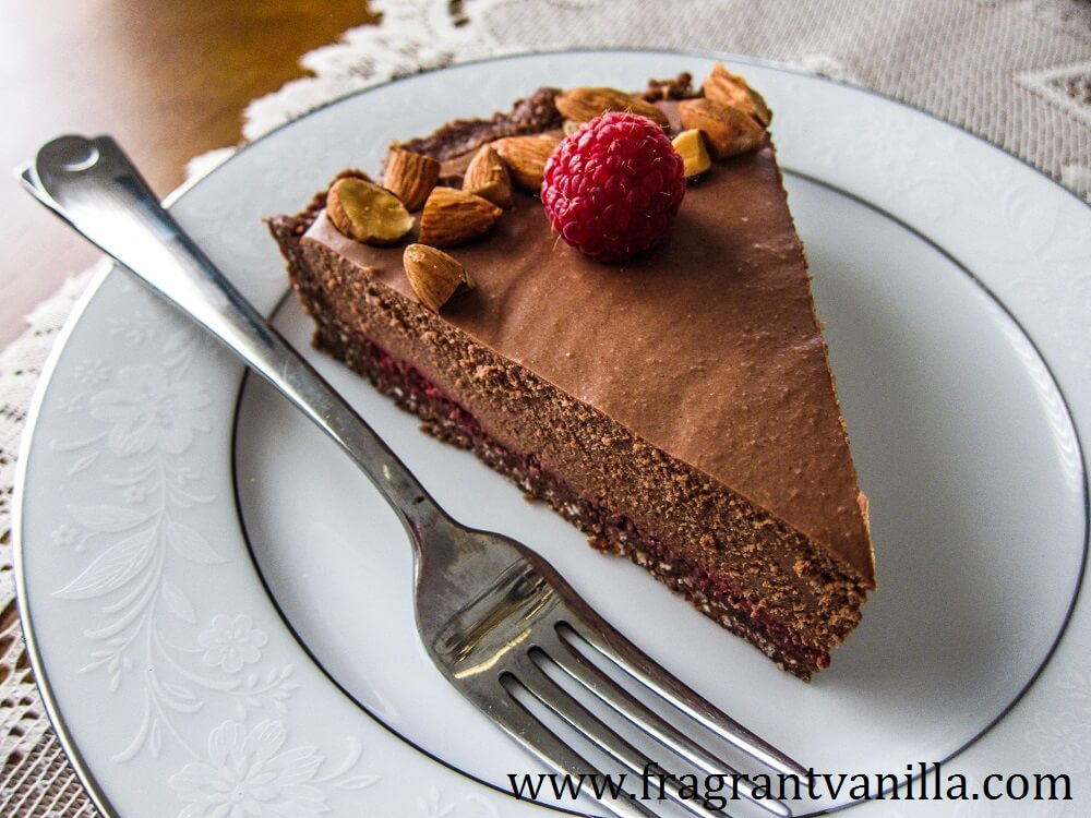 Vegan Chocolate Almond Raspberry Mousse Tart