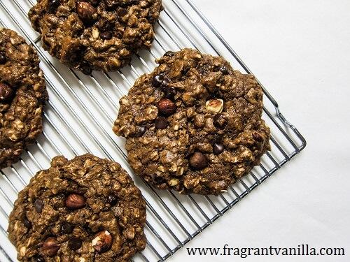 Vegan Chocolate Hazelnut Oatmeal Cookies