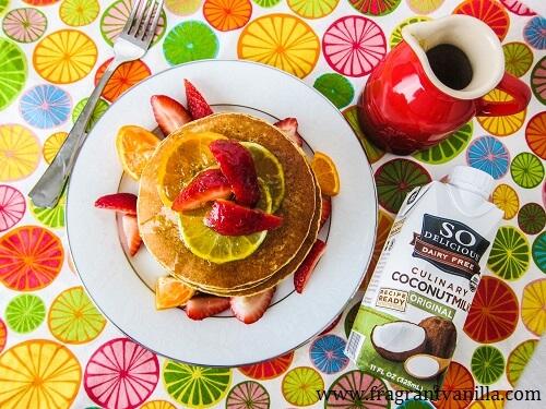 Vegan Citrus Margarita Pancakes with So Delicious and Kitchen I.Q.