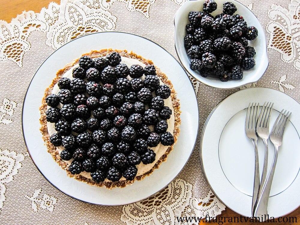 Vegan Blackberry Vanilla Cream Tart