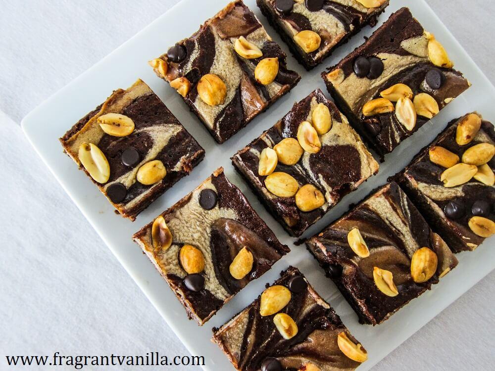 Vegan Snickers Swirl Brownies